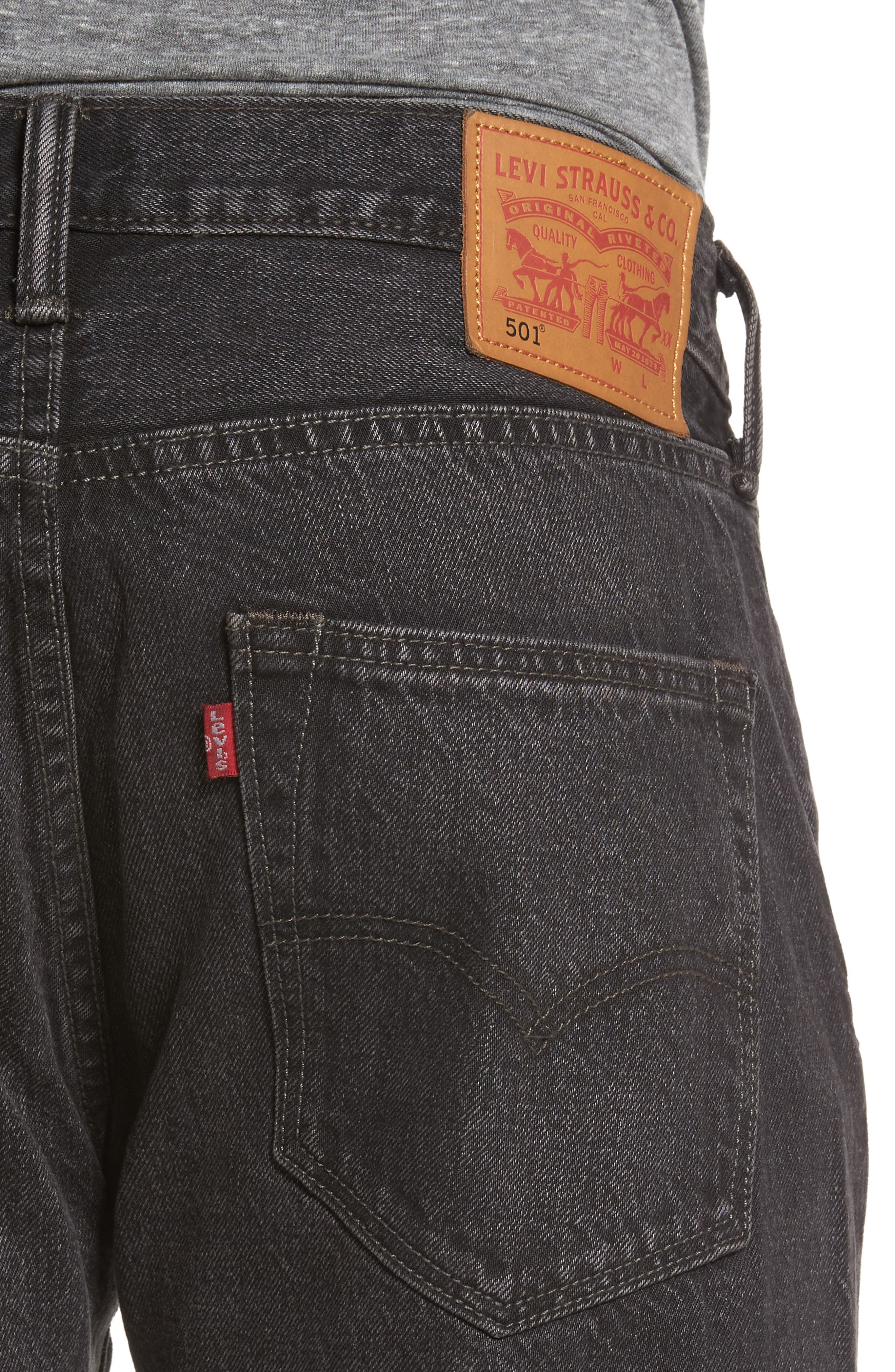 501<sup>™</sup> Straight Leg Jeans,                             Alternate thumbnail 4, color,                             001