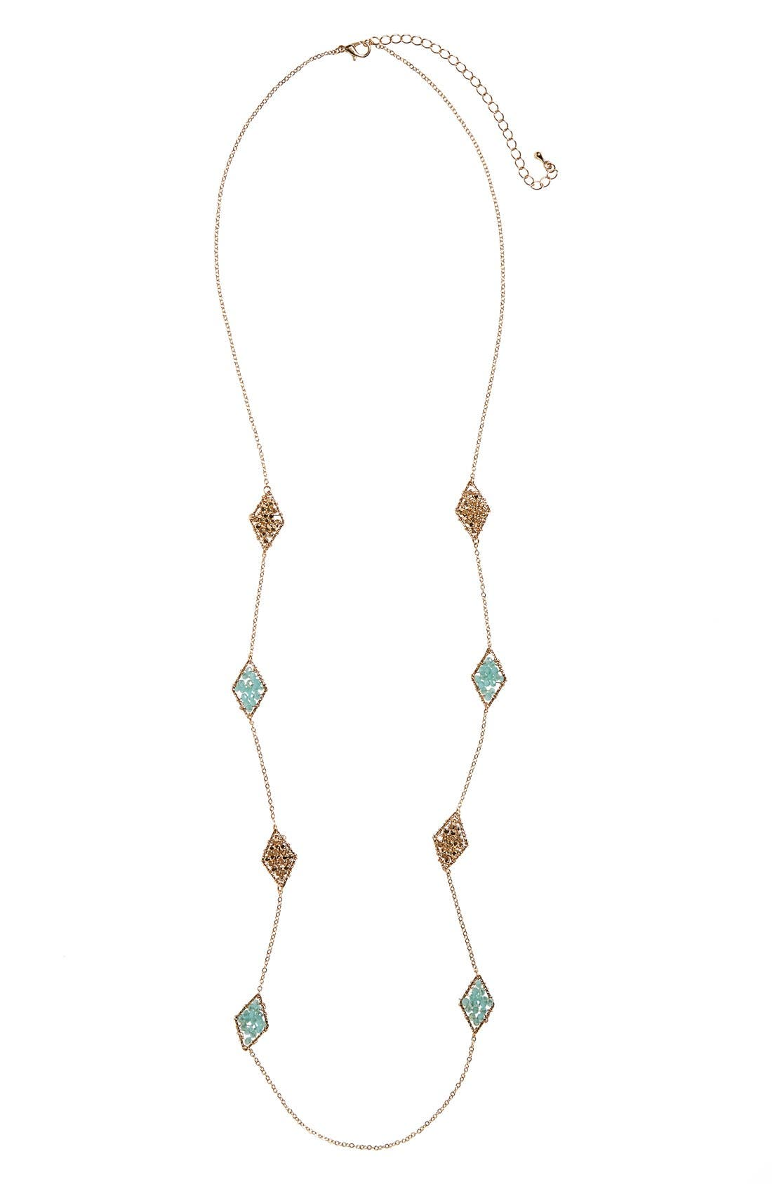 Beaded Station Necklace,                         Main,                         color, 300