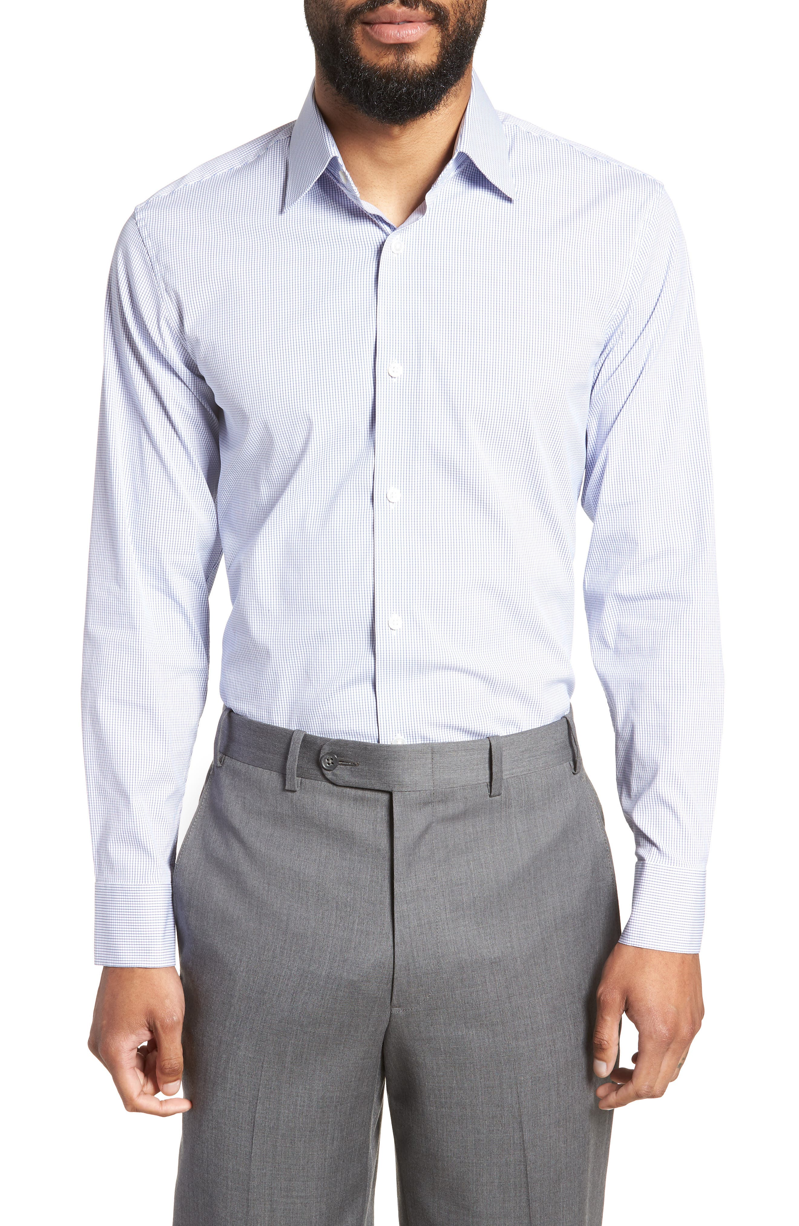 Jetsetter Slim Fit Stretch Check Dress Shirt,                         Main,                         color, NAVY MINI CHECK