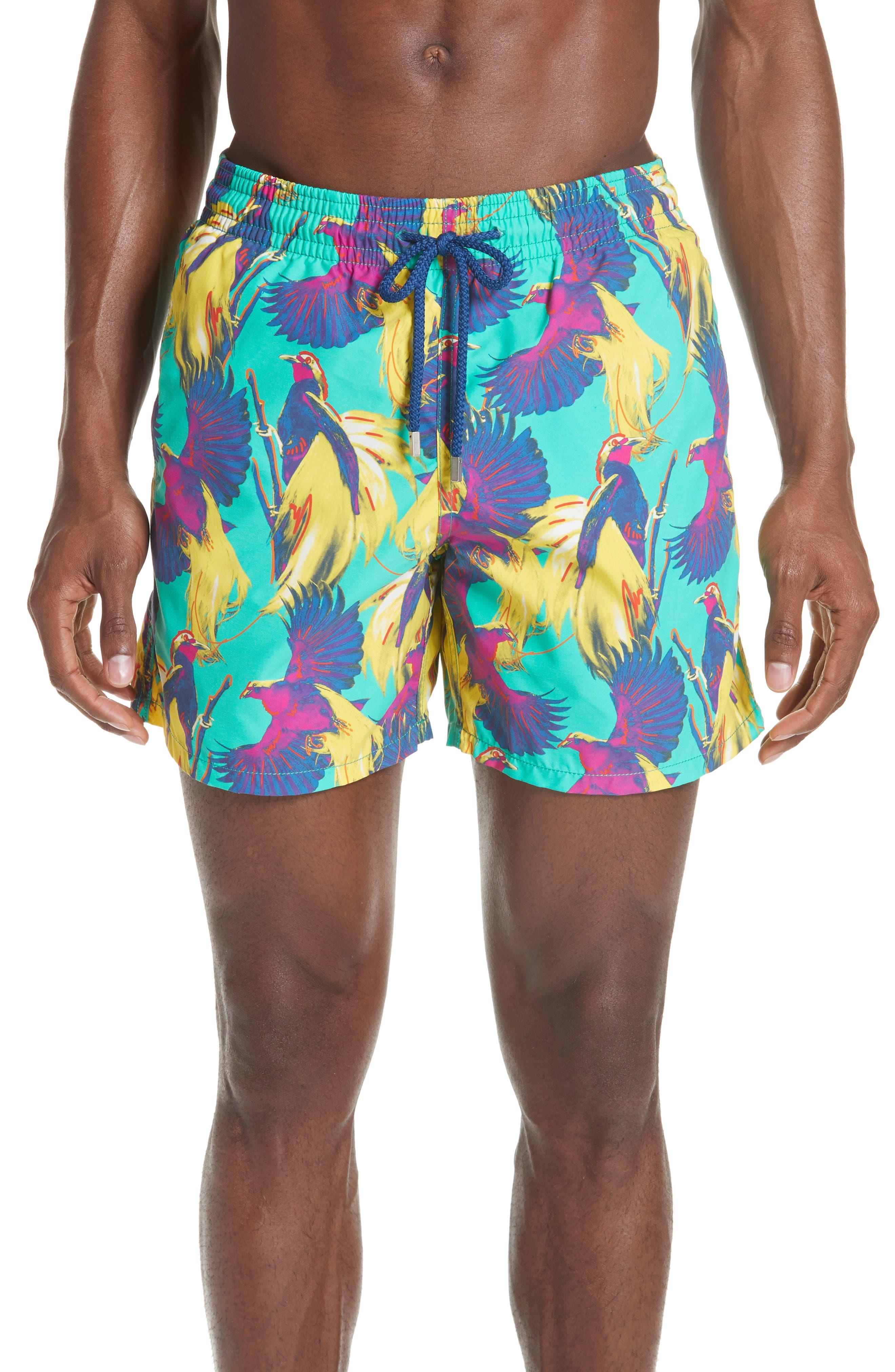 Birds of Paradise Swim Trunks,                         Main,                         color, VERONESE GREEN