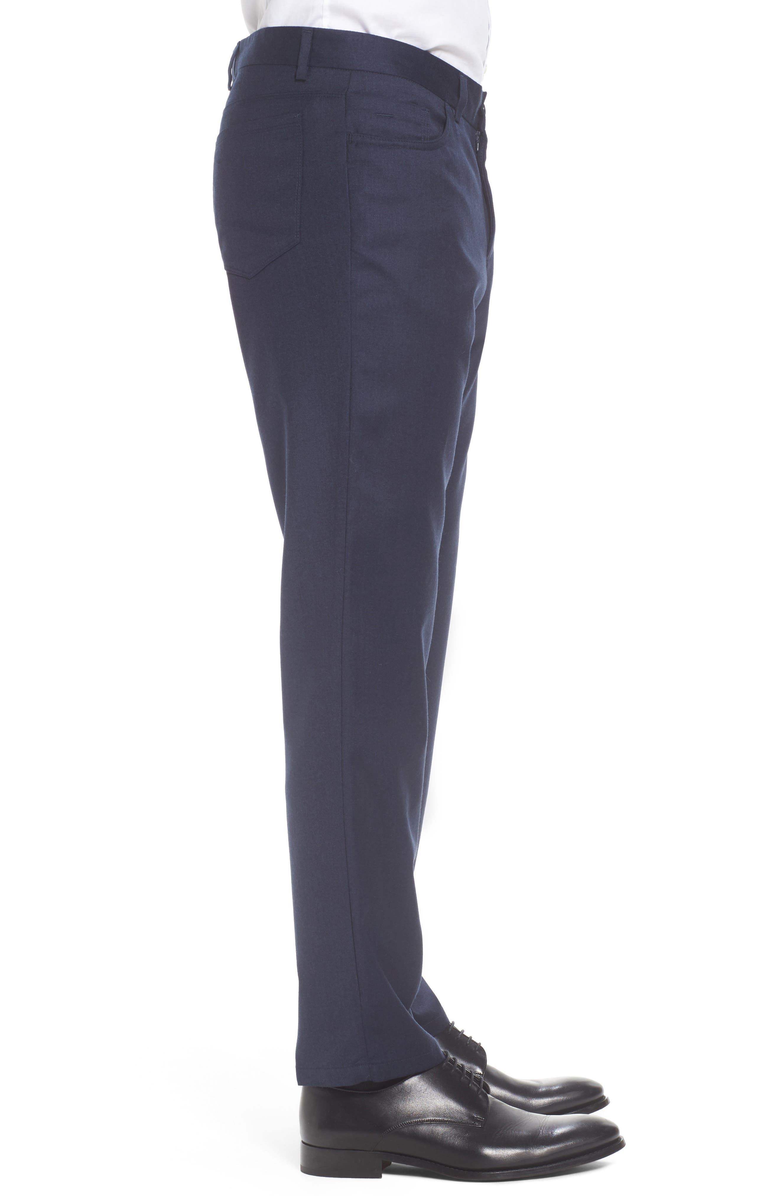 Flat Front Solid Stretch Wool Trousers,                             Alternate thumbnail 12, color,