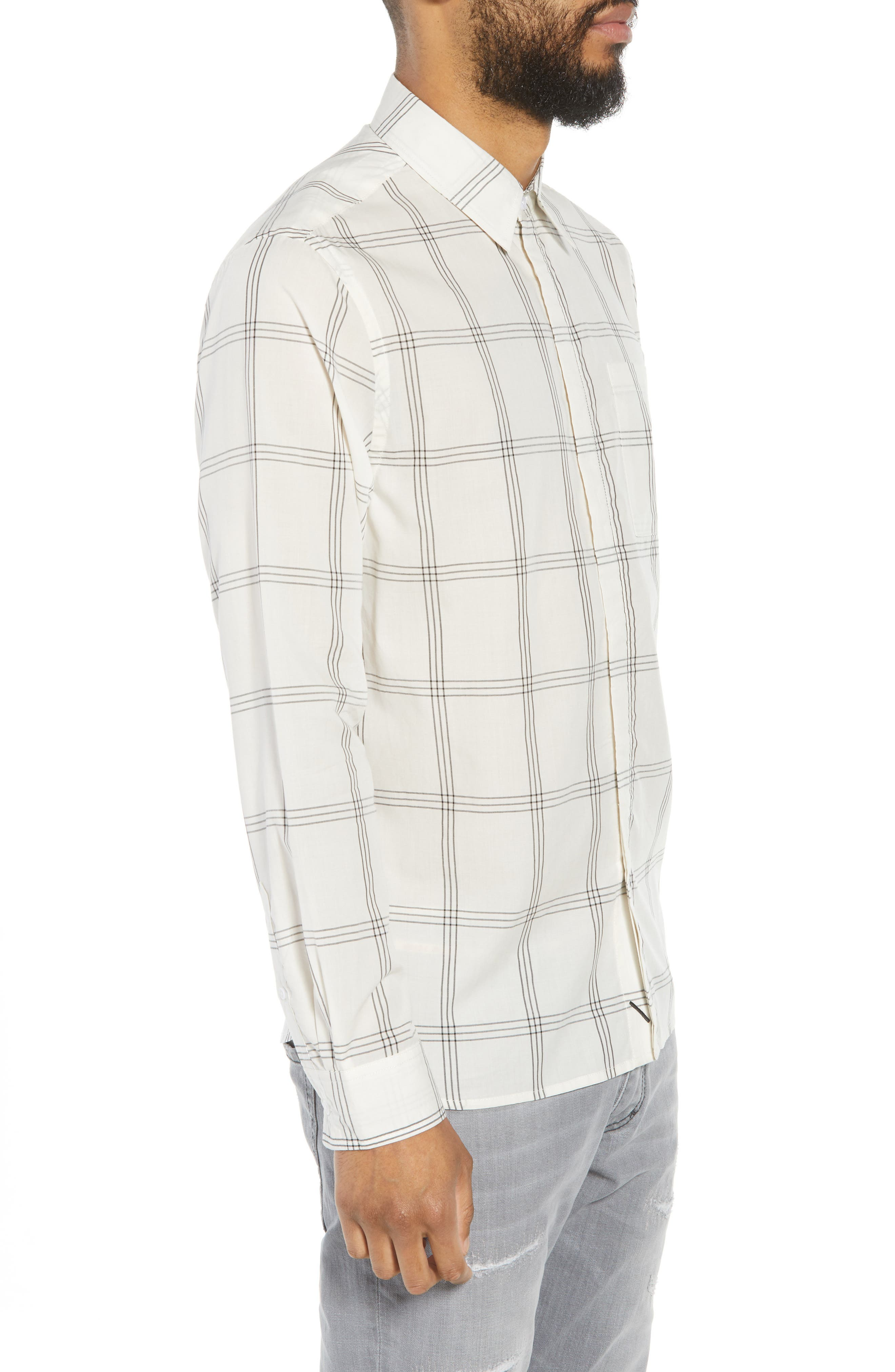 Mickey Windowpane Woven Shirt,                             Alternate thumbnail 3, color,                             WHITE