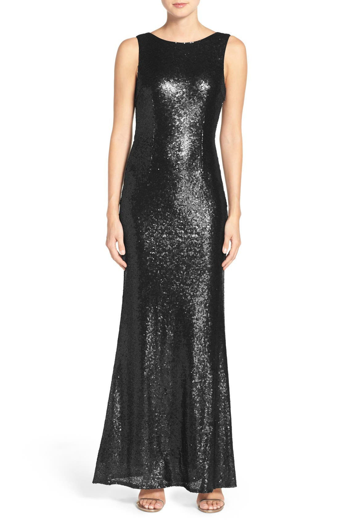 Sleeveless Sequin Drape Back Gown,                             Main thumbnail 1, color,                             002