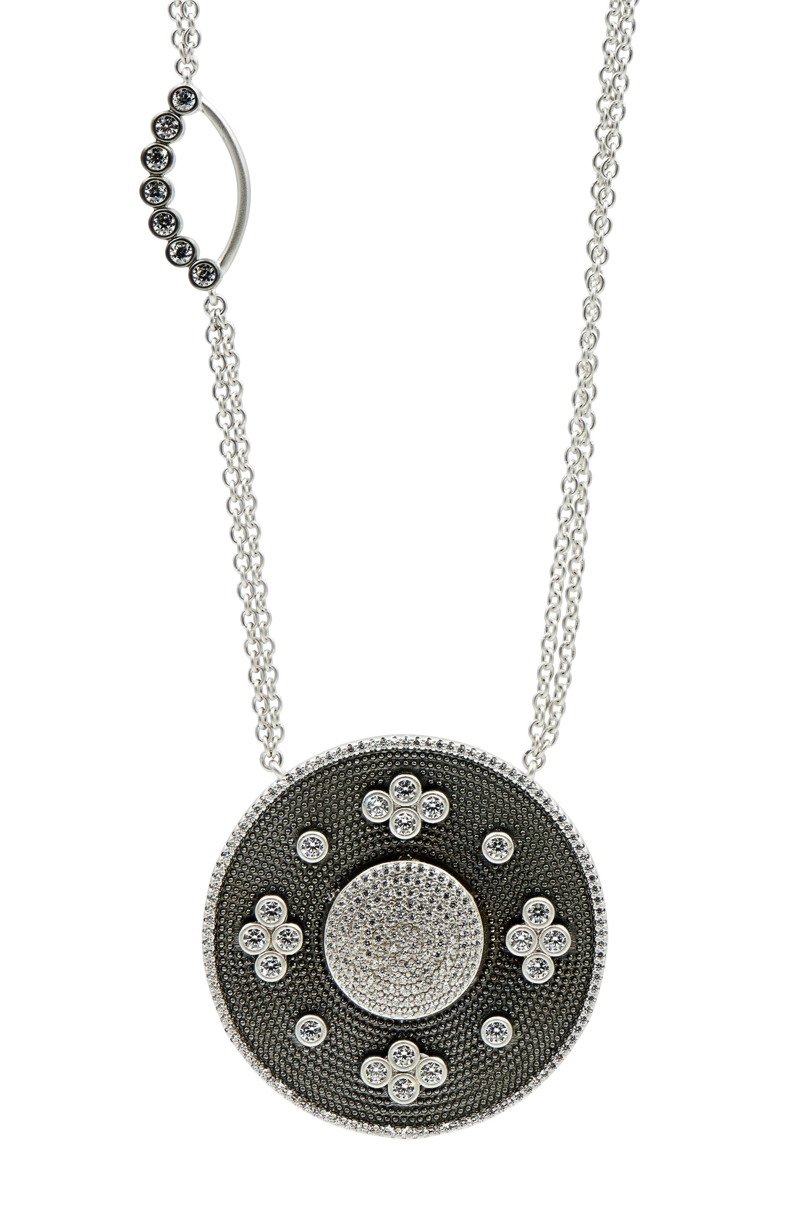 Industrial Finish Pendant Necklace,                             Alternate thumbnail 3, color,                             BLACK/ SILVER