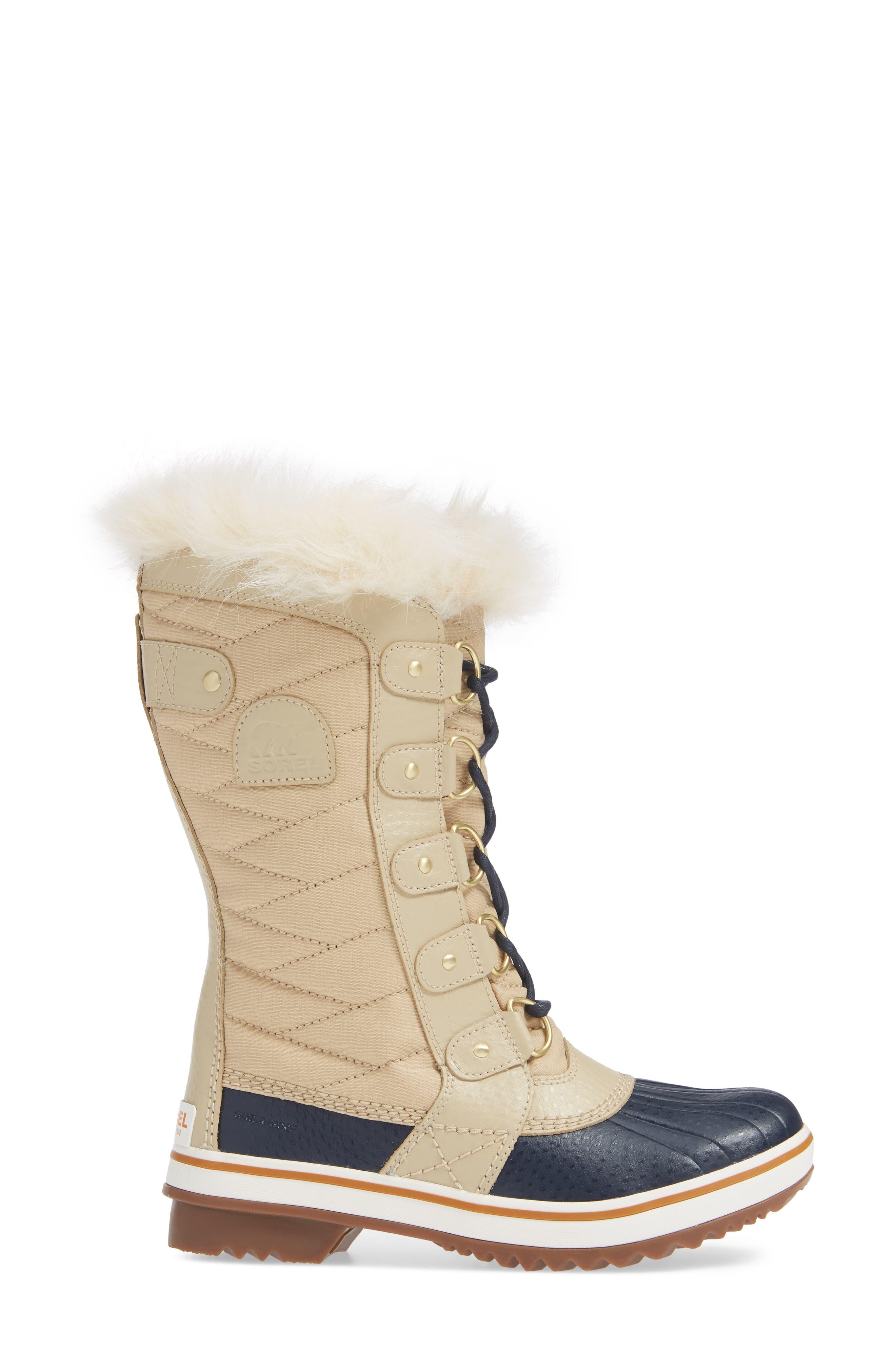 'Tofino II' Faux Fur Lined Waterproof Boot,                             Alternate thumbnail 3, color,                             OATMEAL