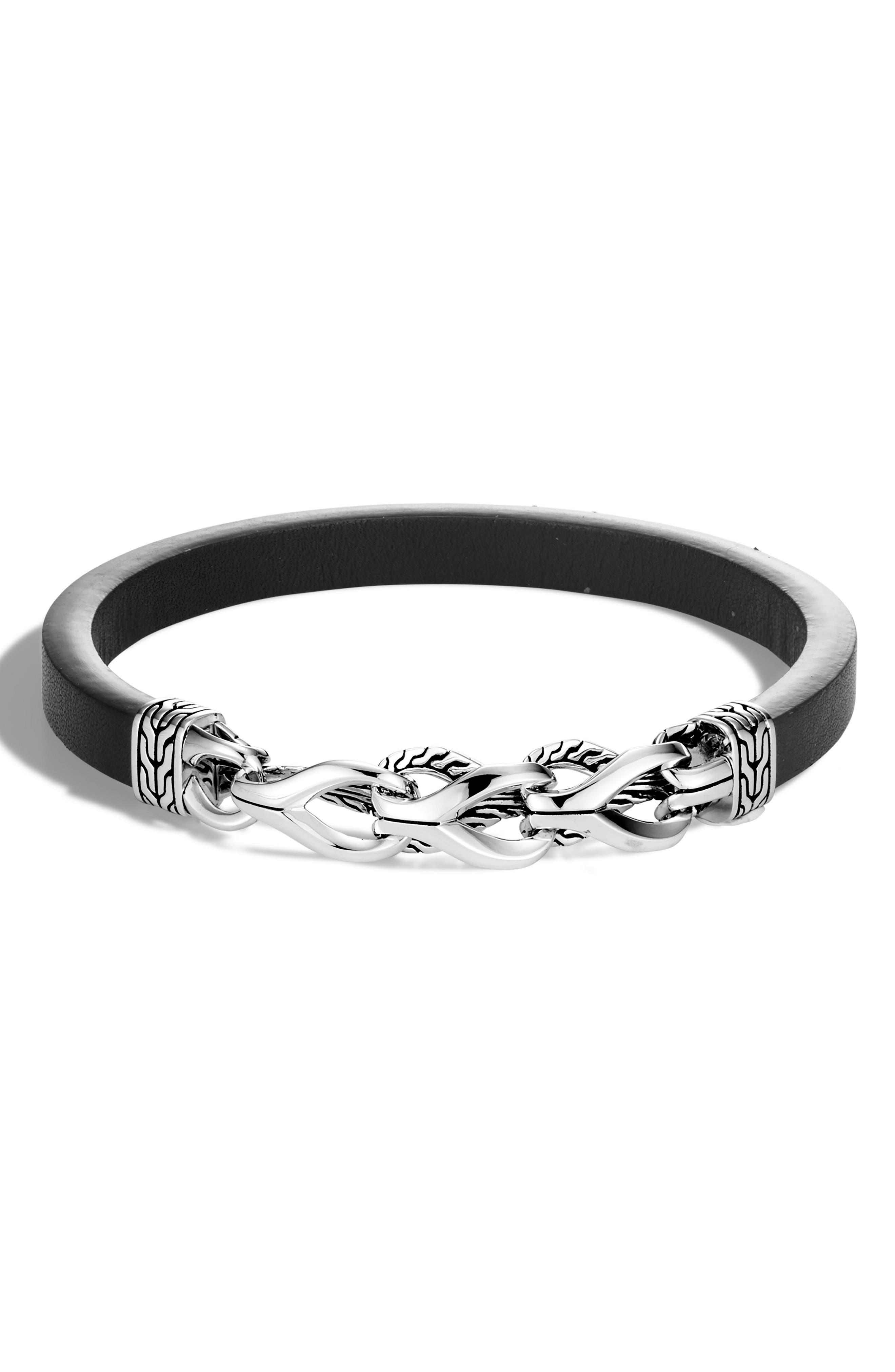 JOHN HARDY,                             Asli Classic Chain Link Bracelet,                             Main thumbnail 1, color,                             SILVER/ LEATHER