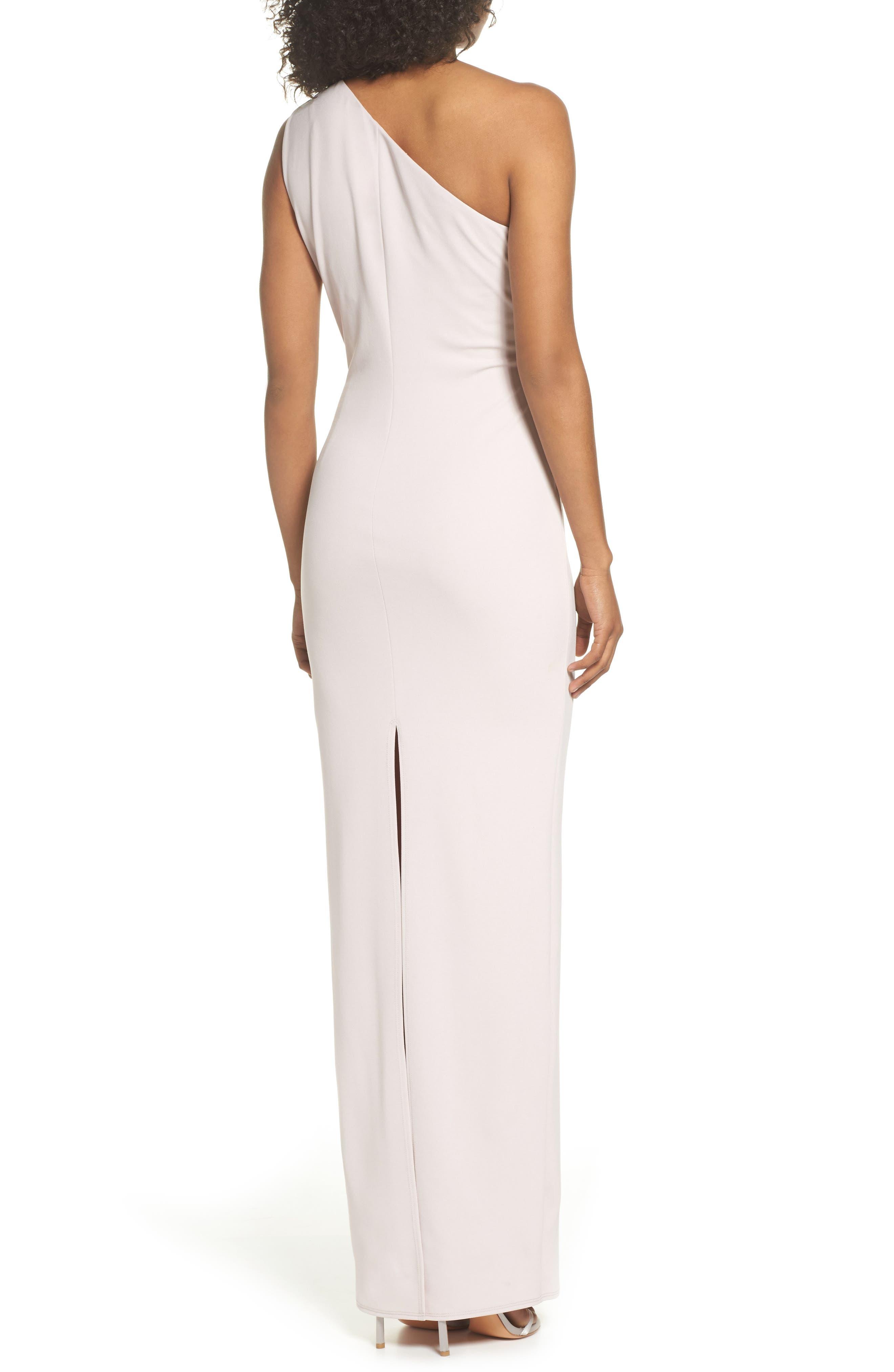 Angelina One-Shoulder Crepe Column Gown,                             Alternate thumbnail 2, color,                             BALLET