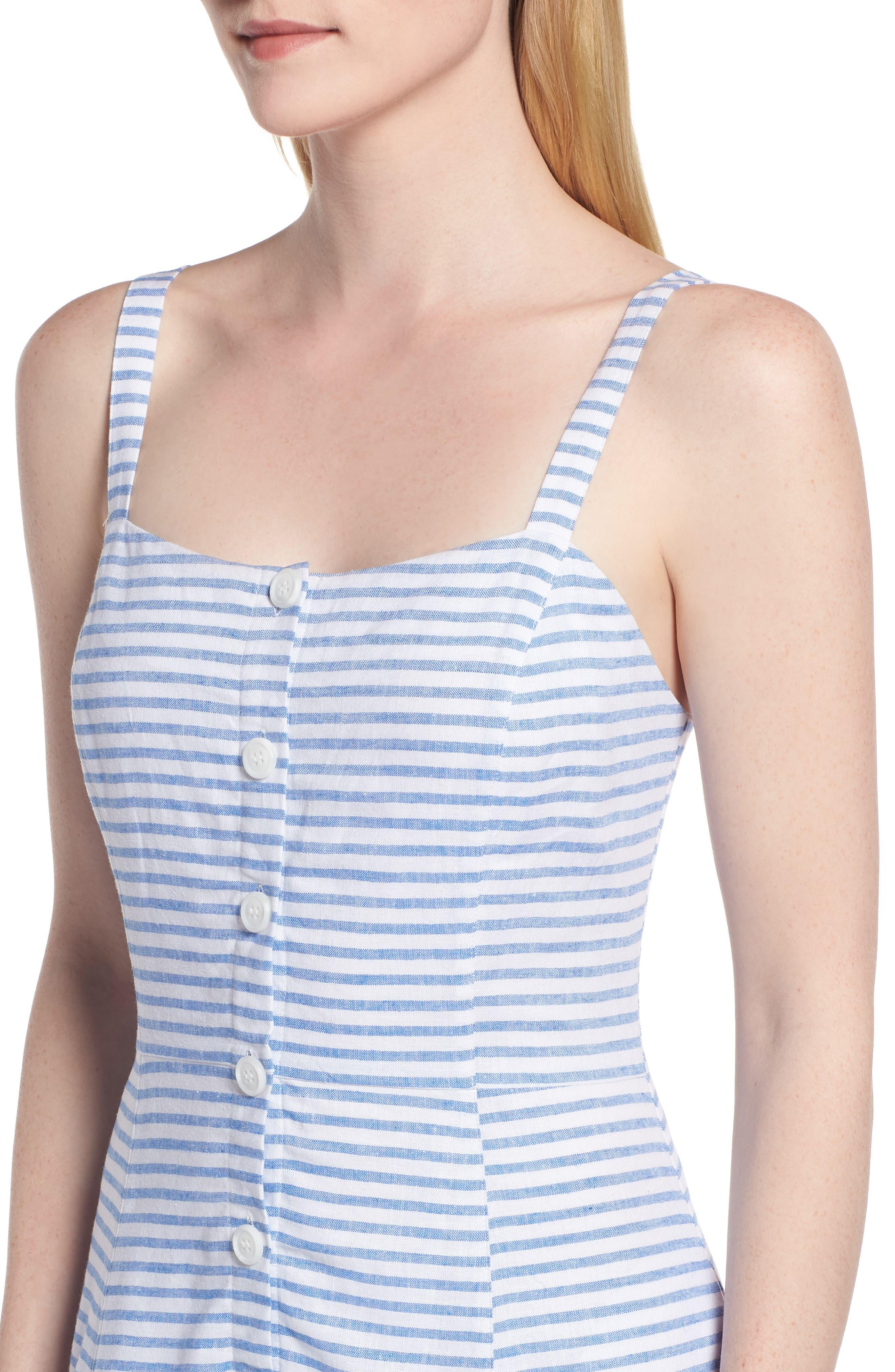 Button Front Stripe Linen Blend Dress,                             Alternate thumbnail 4, color,