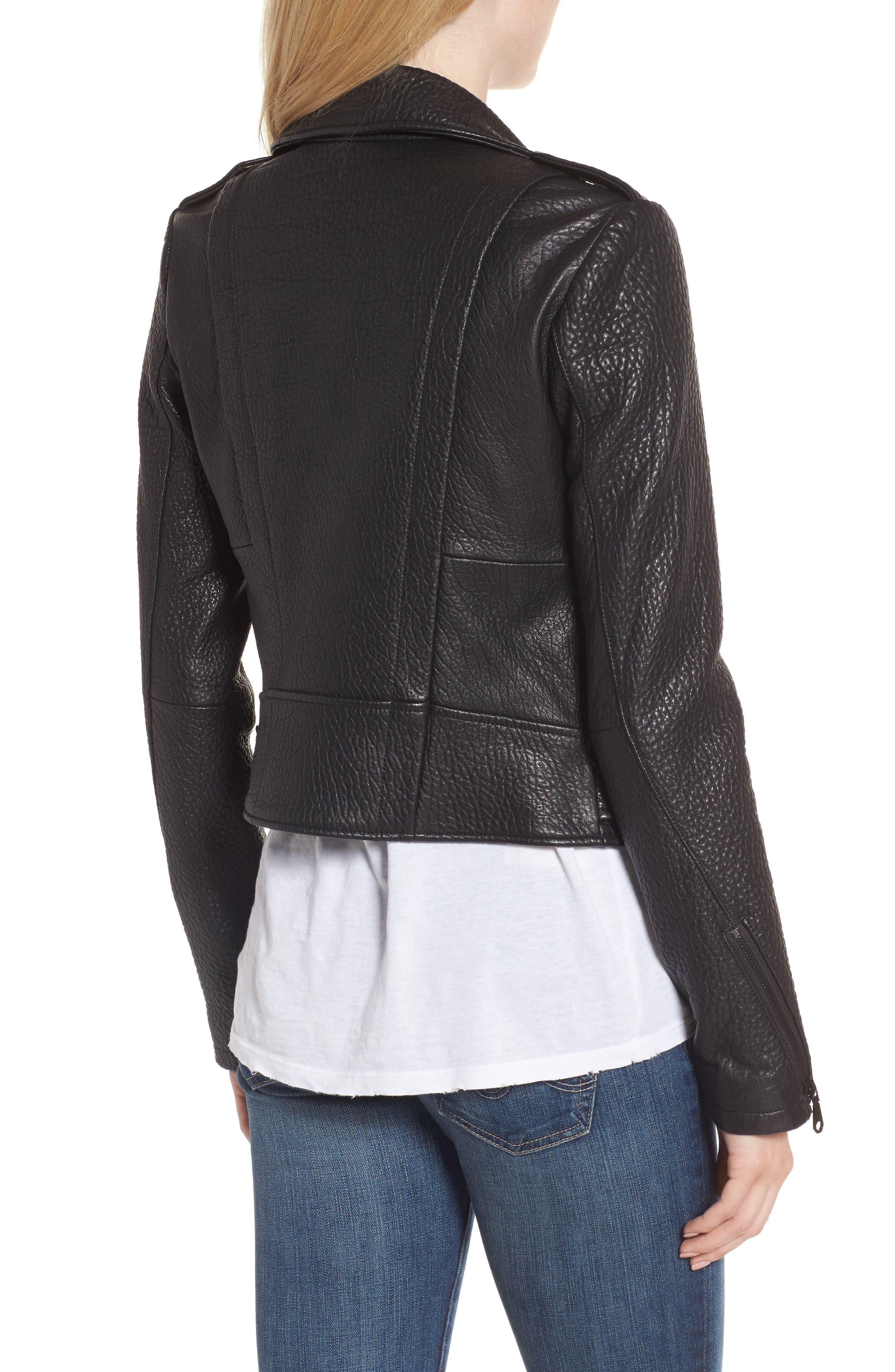 Wolf Leather Moto Jacket,                             Alternate thumbnail 2, color,                             001