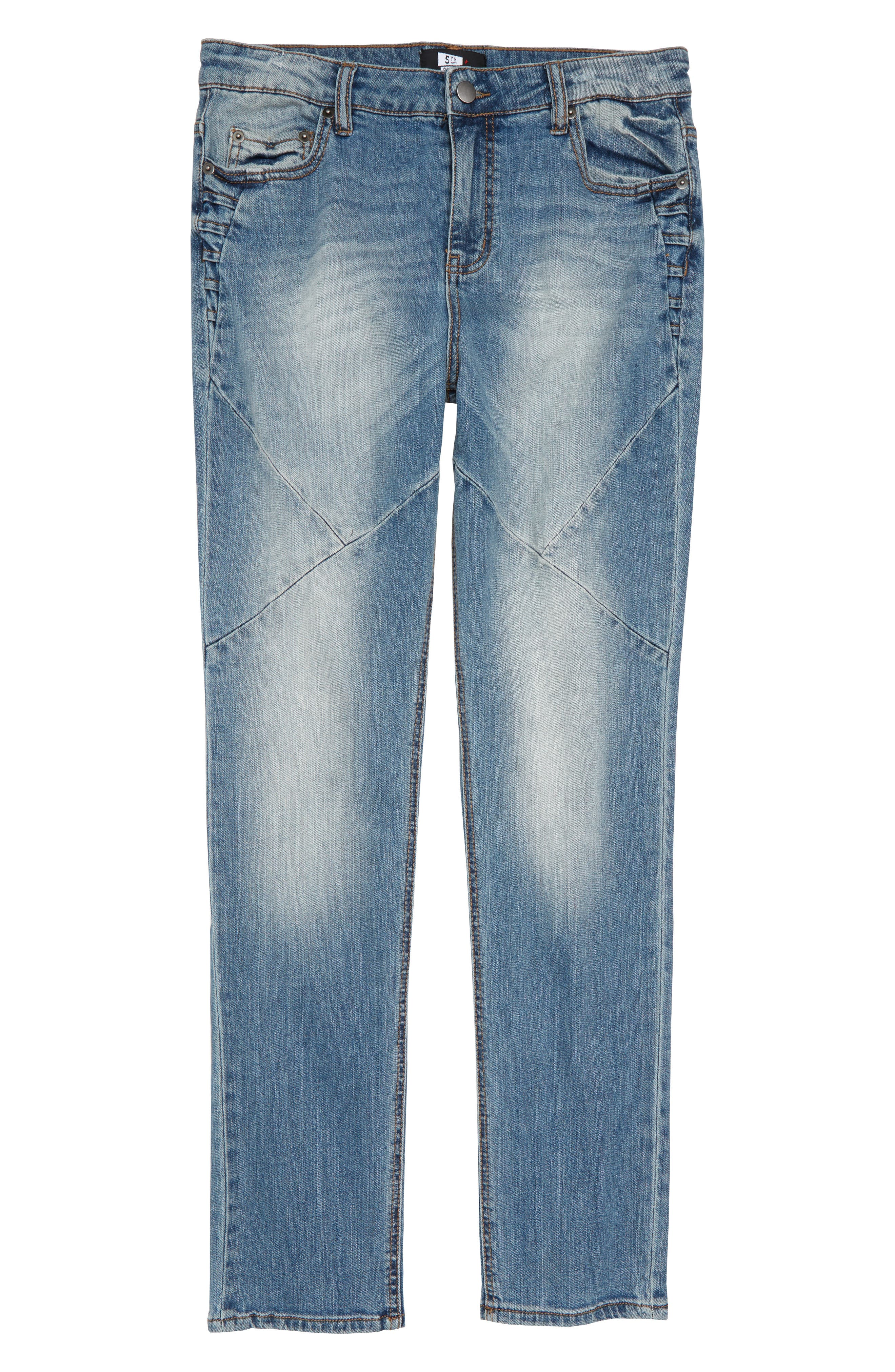 Pieced Skinny Jeans,                             Main thumbnail 1, color,                             MEDIUM INDIGO