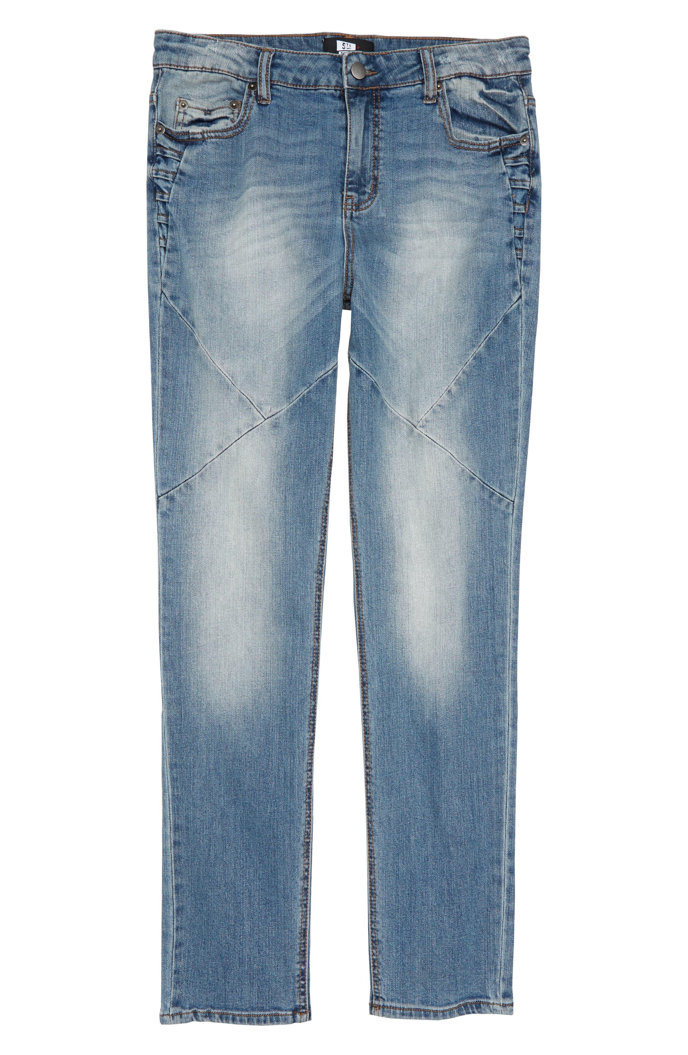 Pieced Skinny Jeans,                         Main,                         color, MEDIUM INDIGO