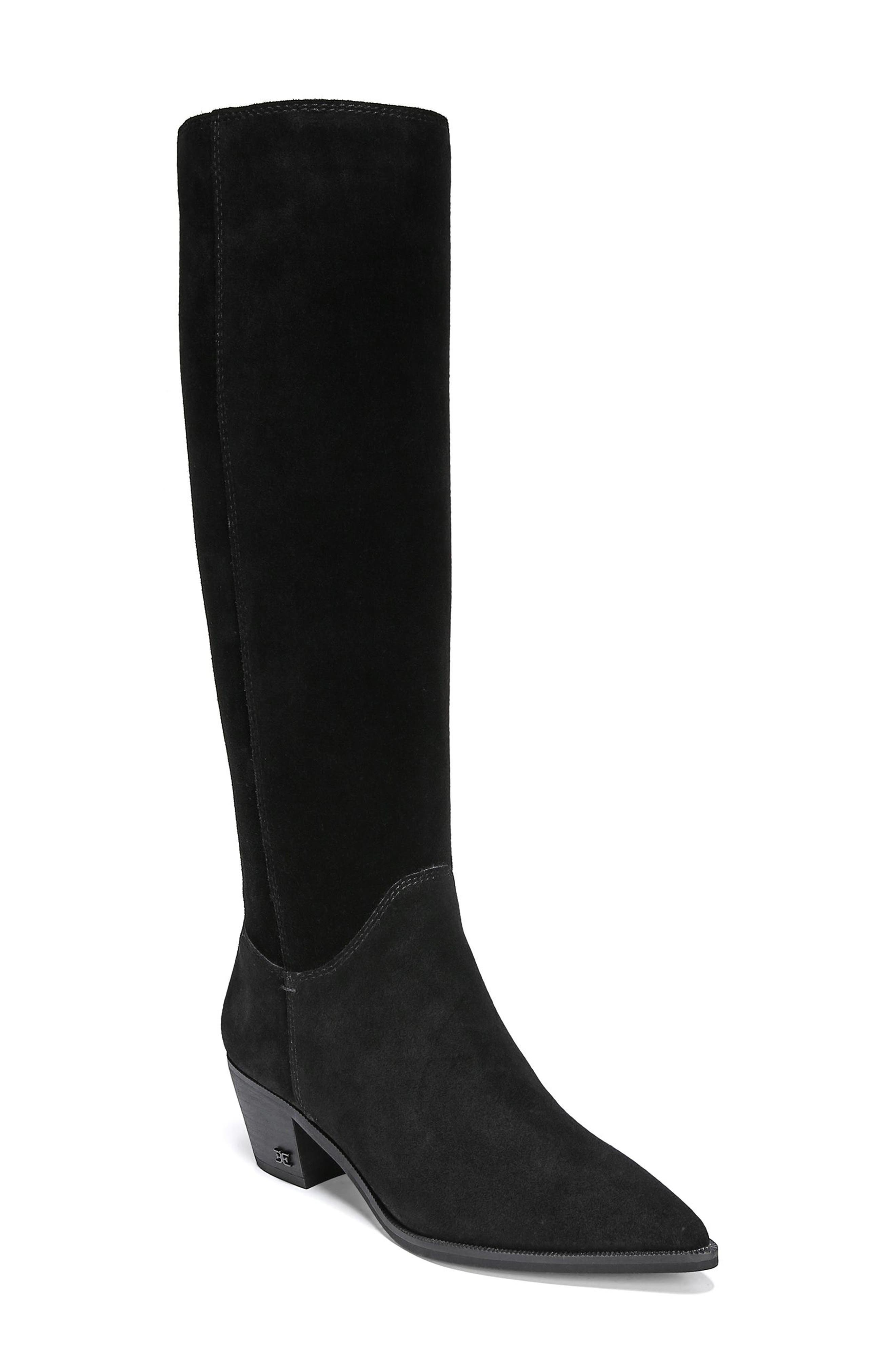 Rowena Knee High Boot,                         Main,                         color, BLACK SUEDE