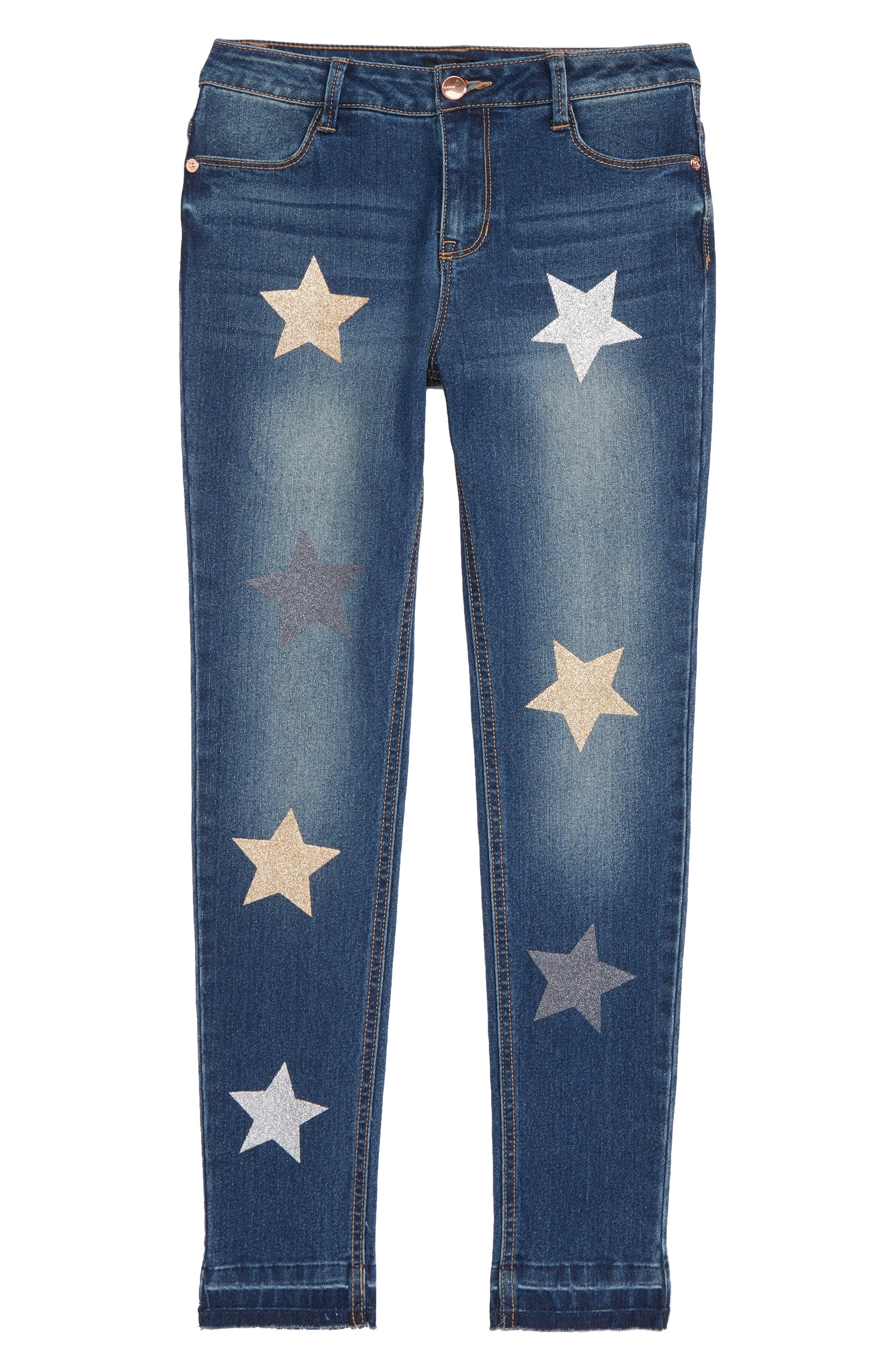 Star Appliqué Skinny Jeans,                             Main thumbnail 1, color,                             Blue