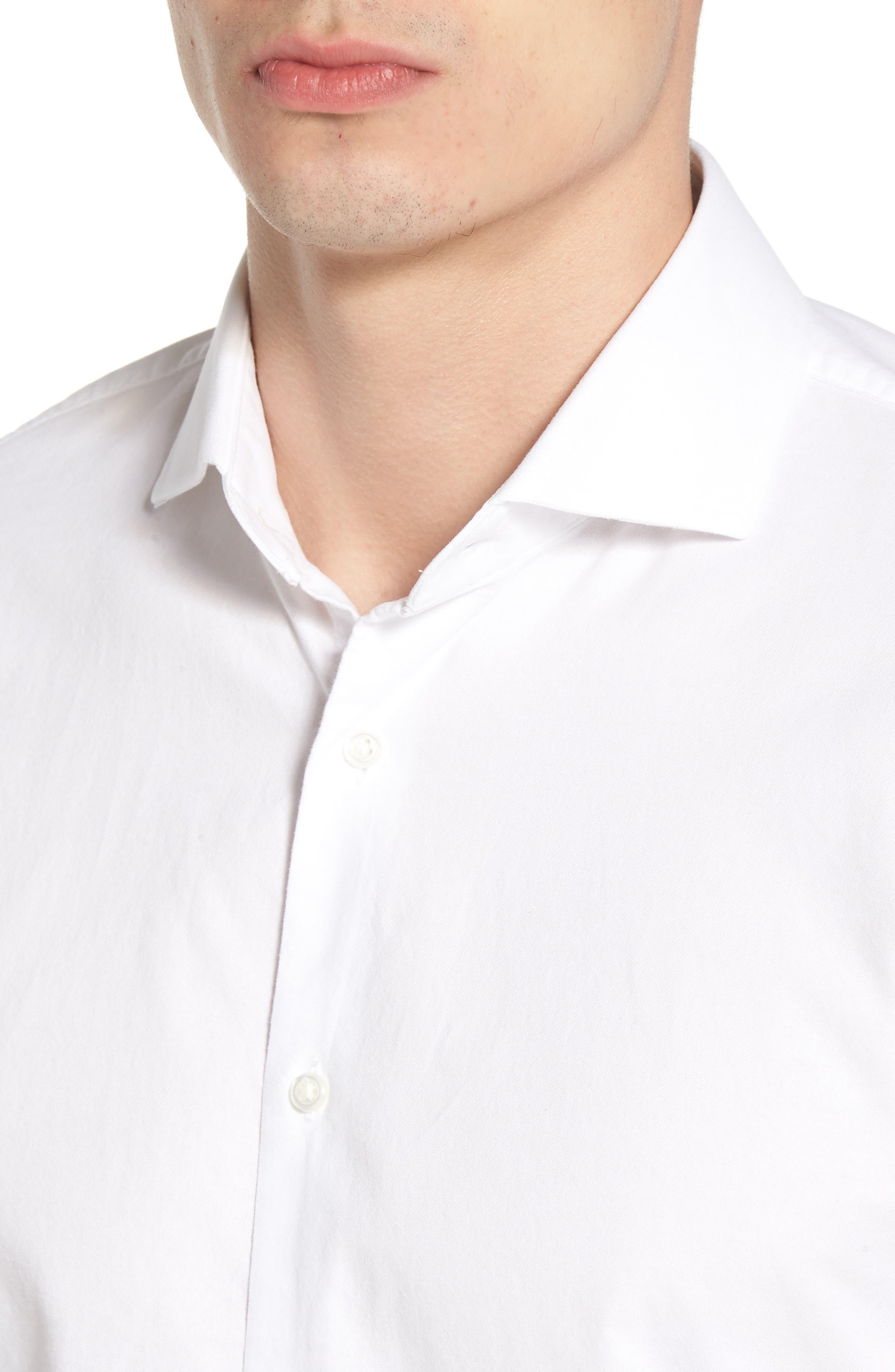 Trim Fit Solid Dress Shirt,                             Alternate thumbnail 5, color,