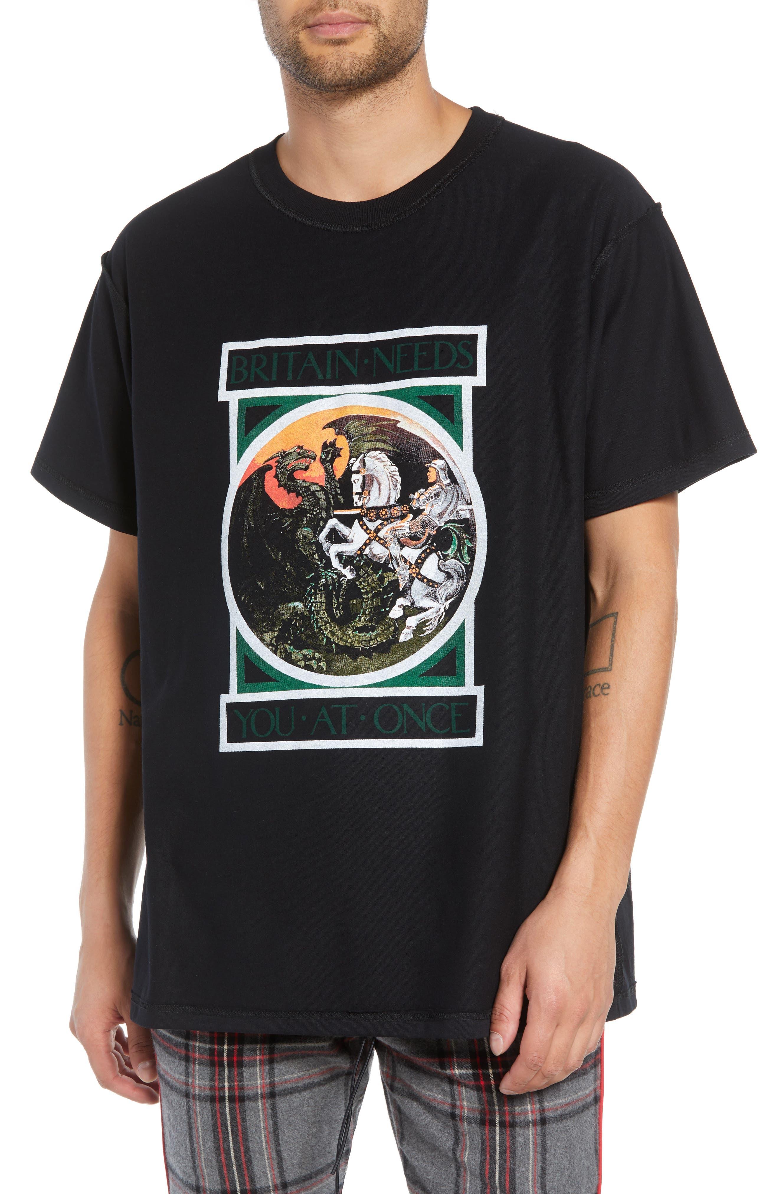 George/Dragon Graphic T-Shirt,                         Main,                         color, BLACK