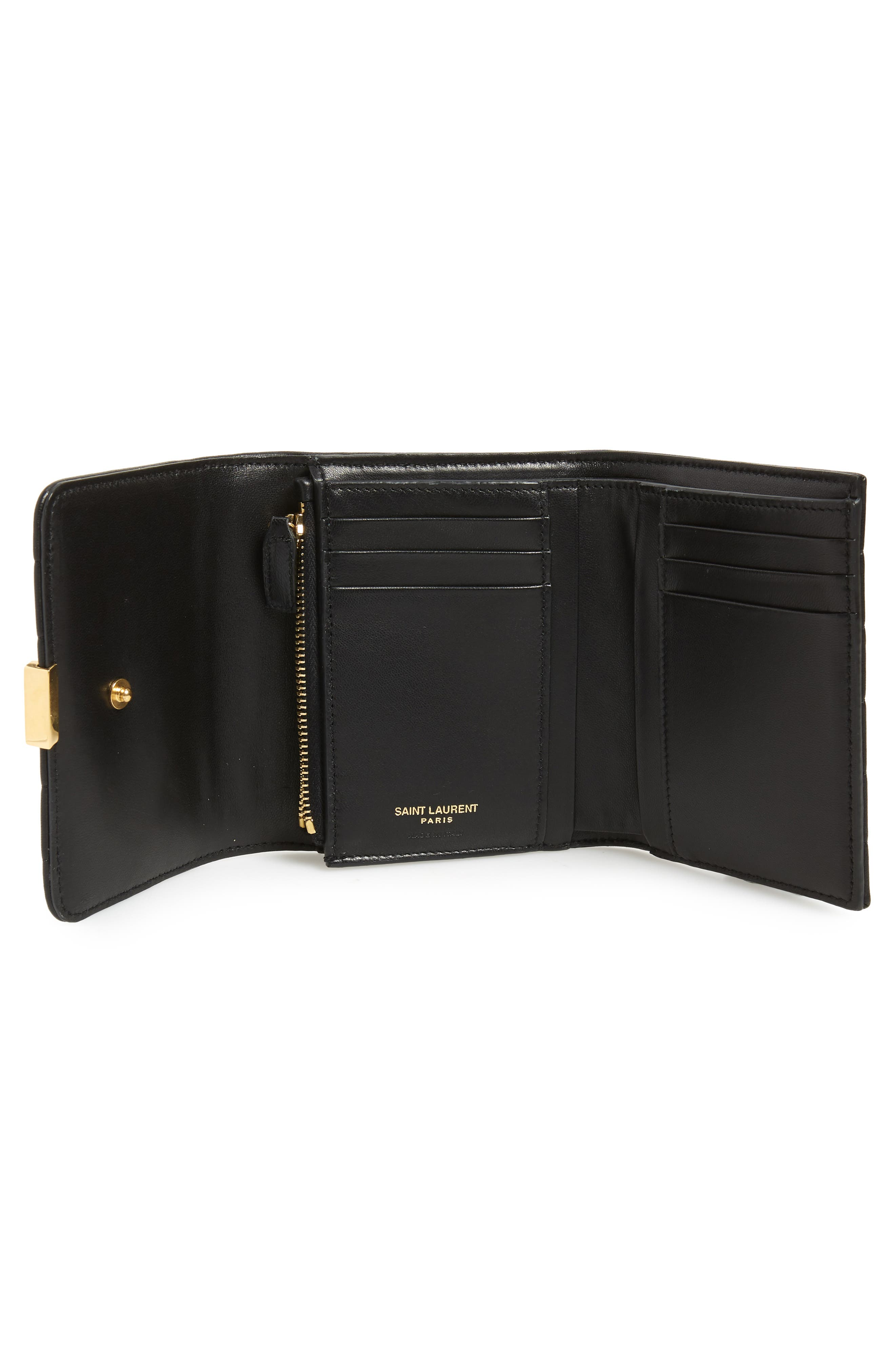 Vicky Lambskin Leather Trifold Wallet,                             Alternate thumbnail 2, color,                             NOIR