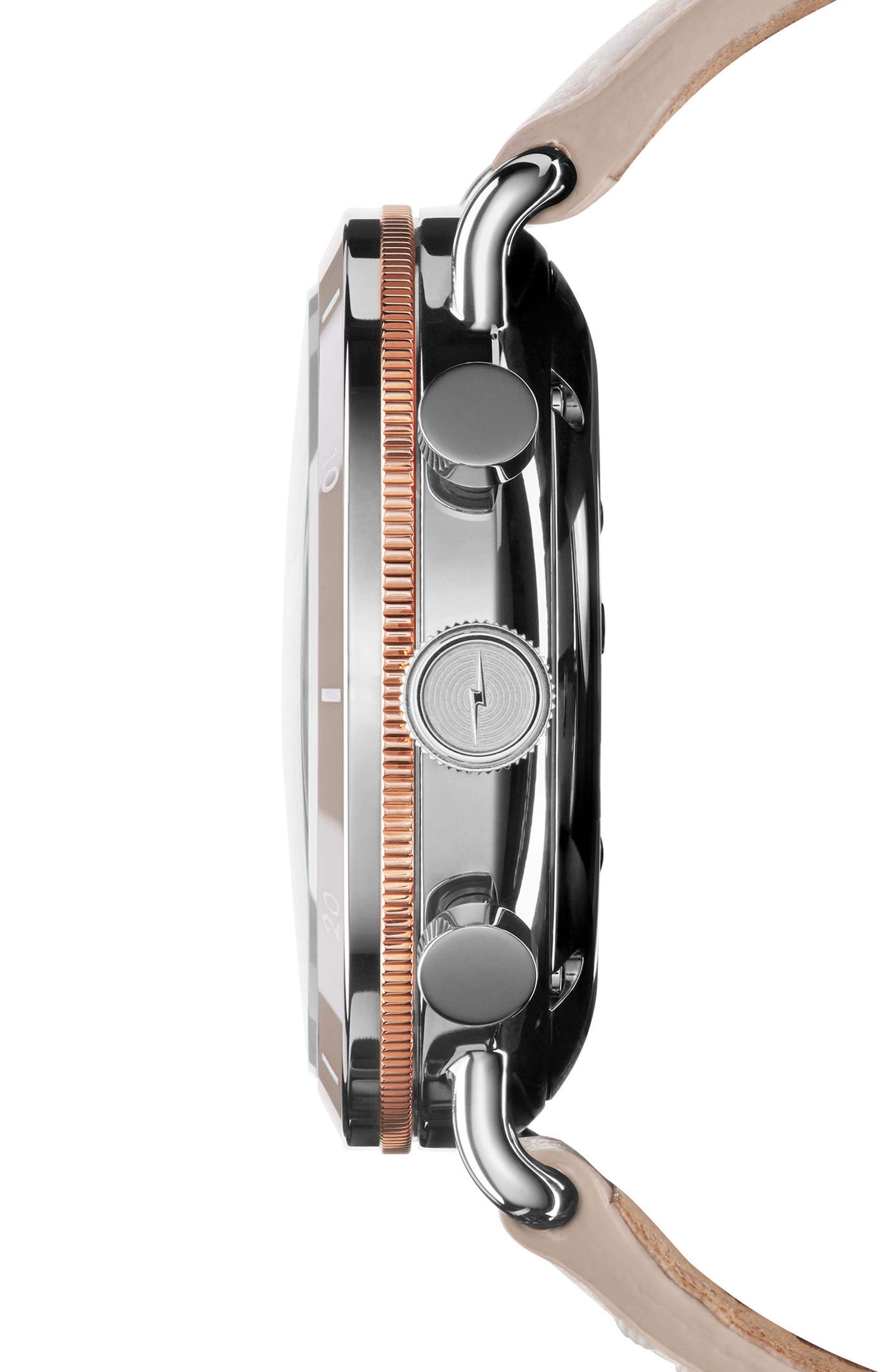 The Canfield Chrono Leather Strap Watch, 40mm,                             Alternate thumbnail 3, color,                             BLUSH/ WHITE/ ROSE GOLD