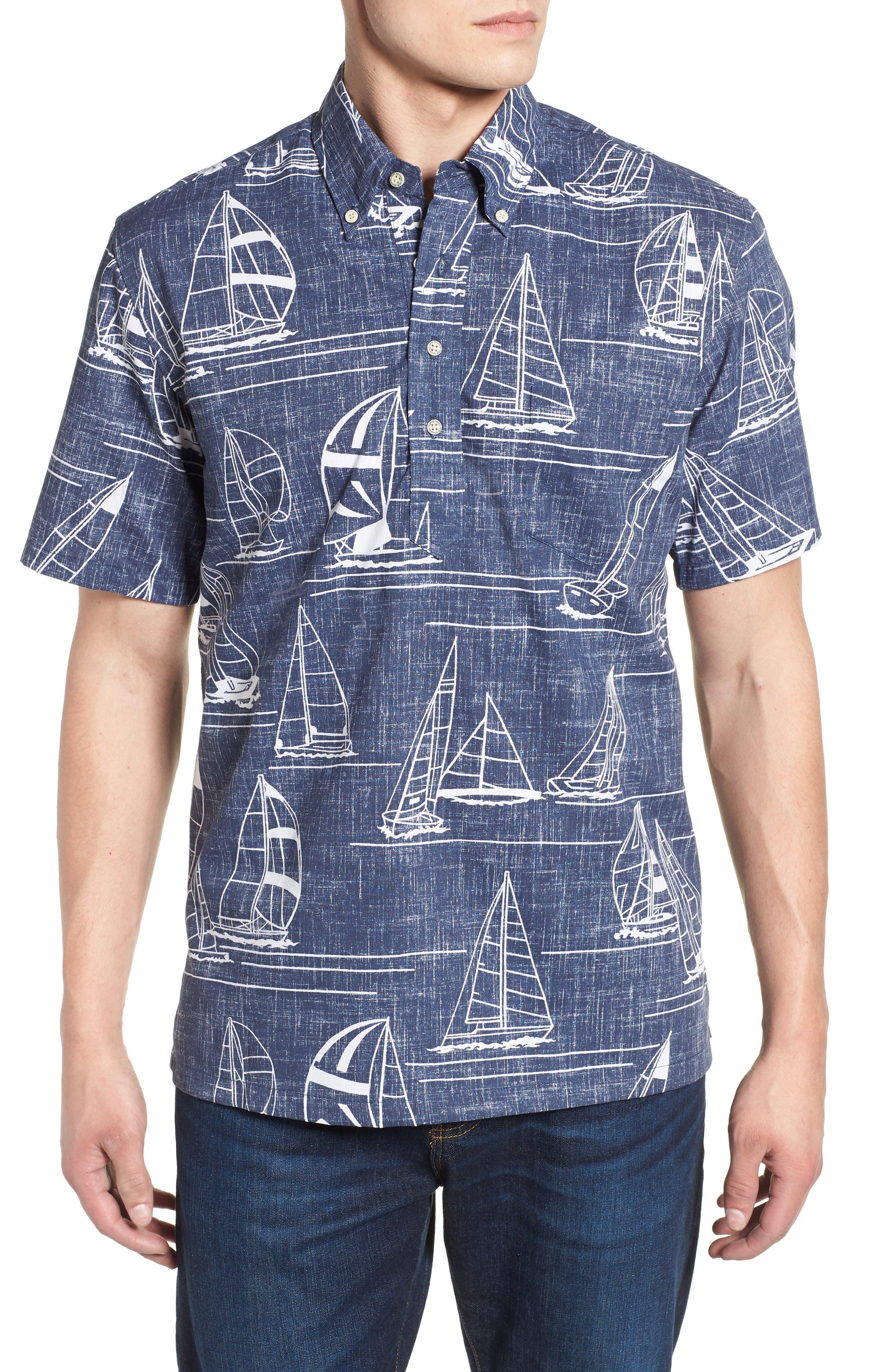 Newport 2 Honolulu Classic Fit Print Sport Shirt,                         Main,                         color, INK