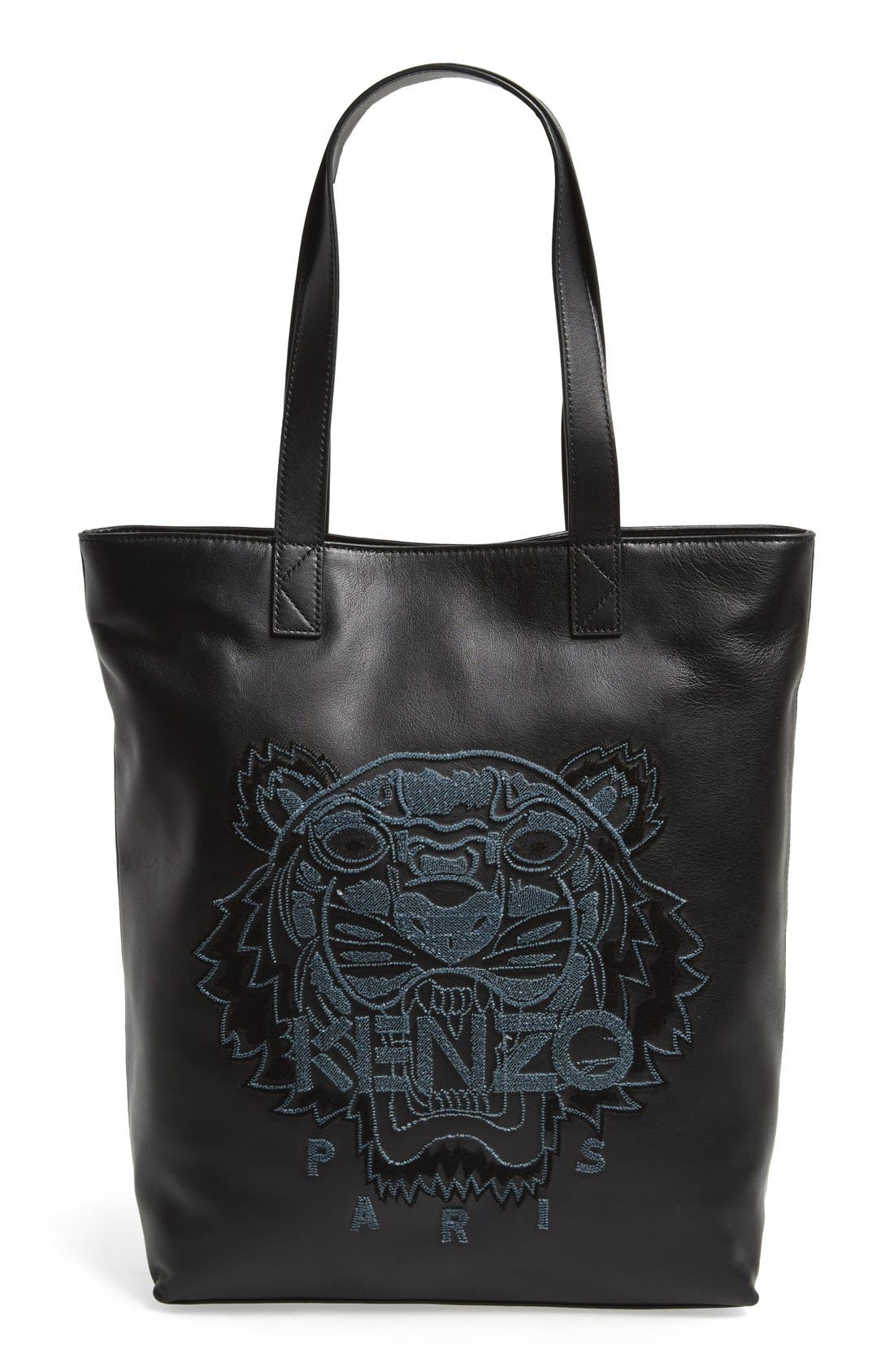 'Tiger' Leather Tote, Main, color, 001