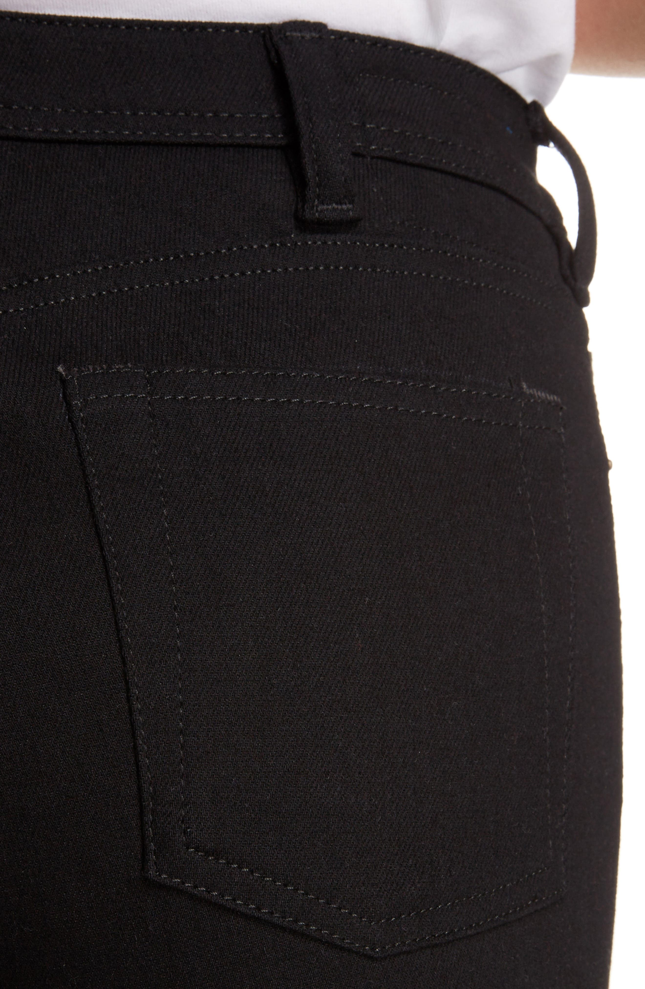 Peg High Waist Skinny Jeans,                             Alternate thumbnail 4, color,                             BLACK