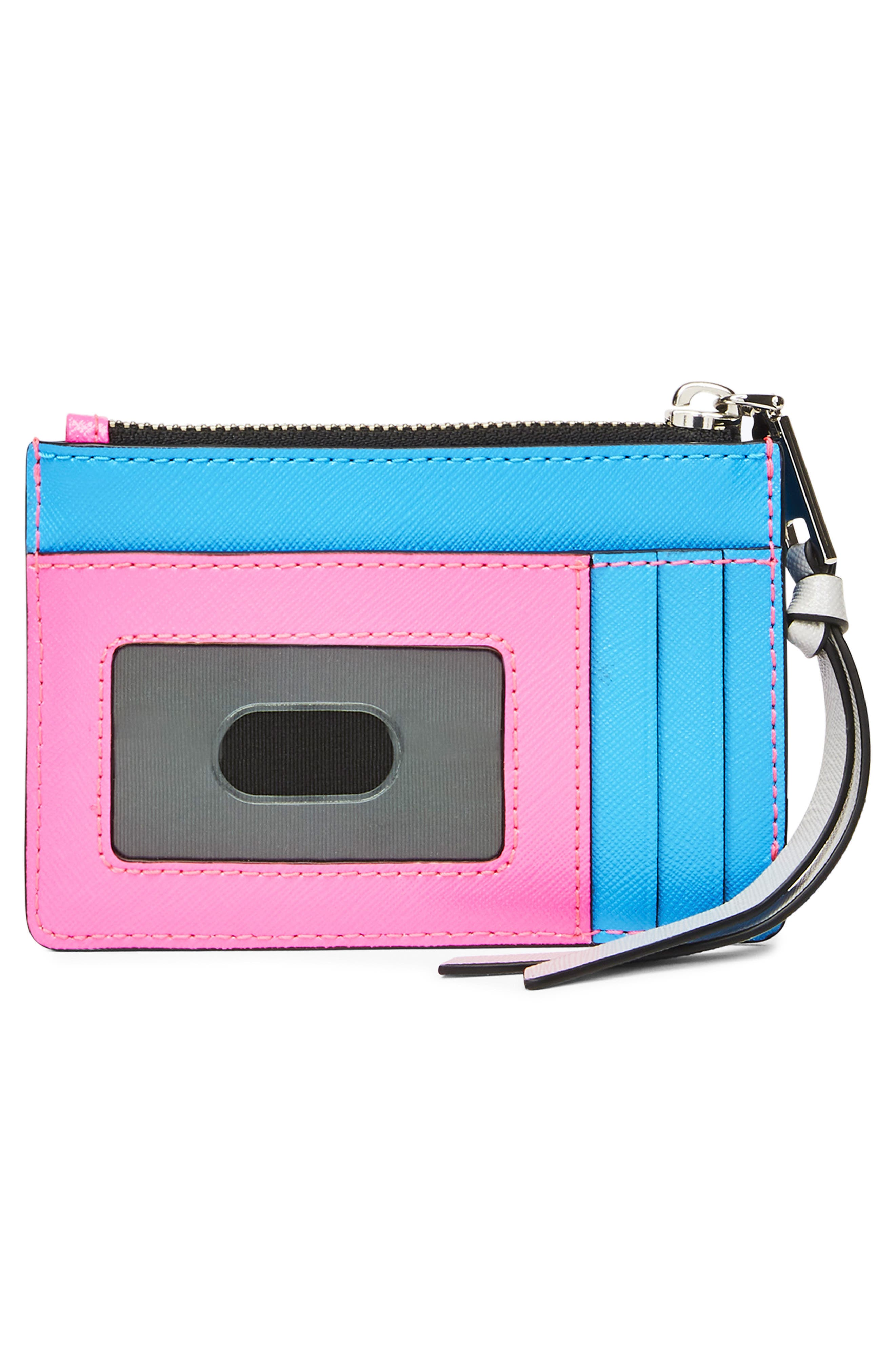 Snapshot Small Leather Wallet,                             Alternate thumbnail 2, color,                             BRIGHT PINK MULTI