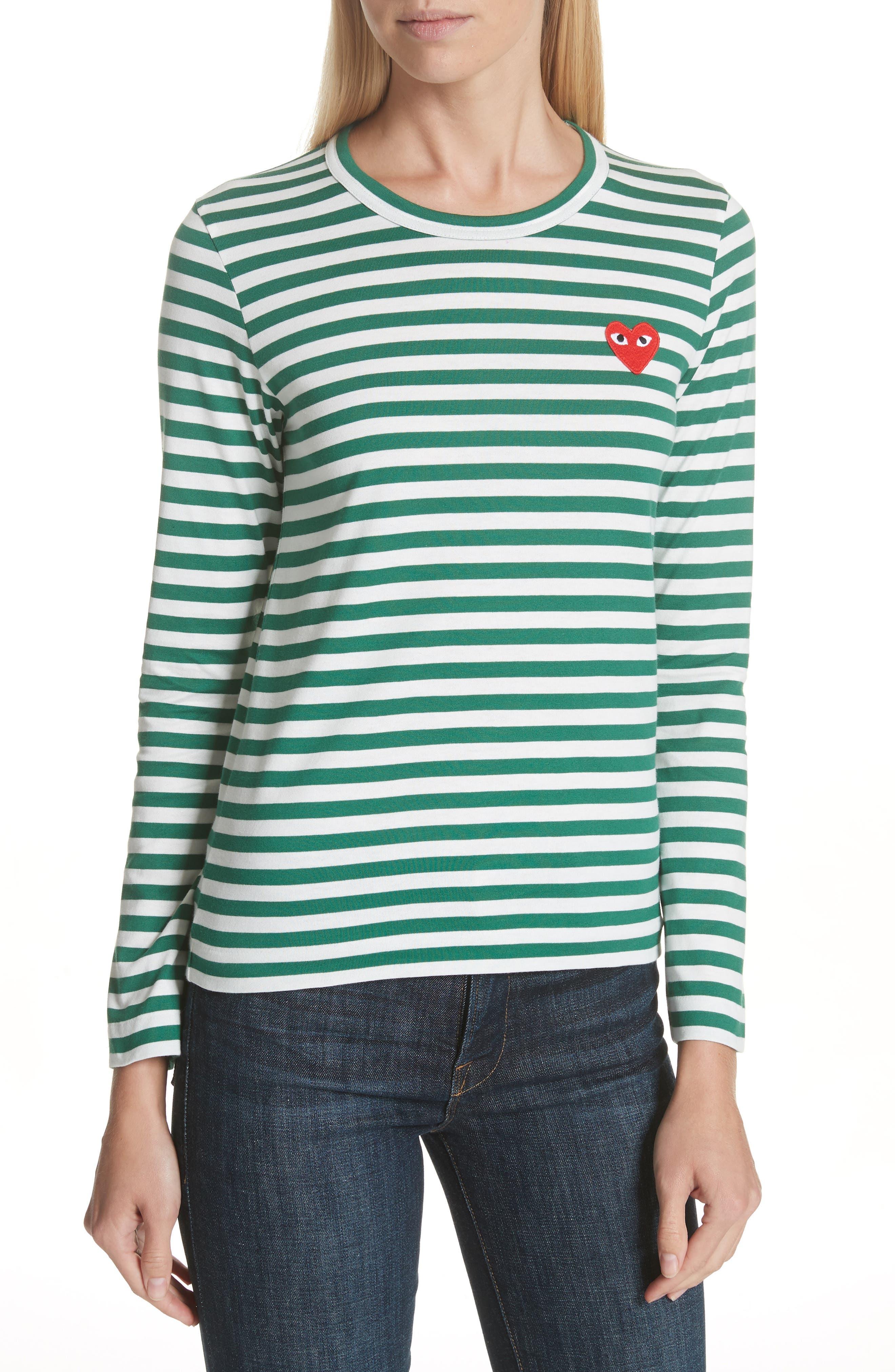 Comme des Garçons PLAY Stripe Cotton Tee,                         Main,                         color, GREEN/ WHITE
