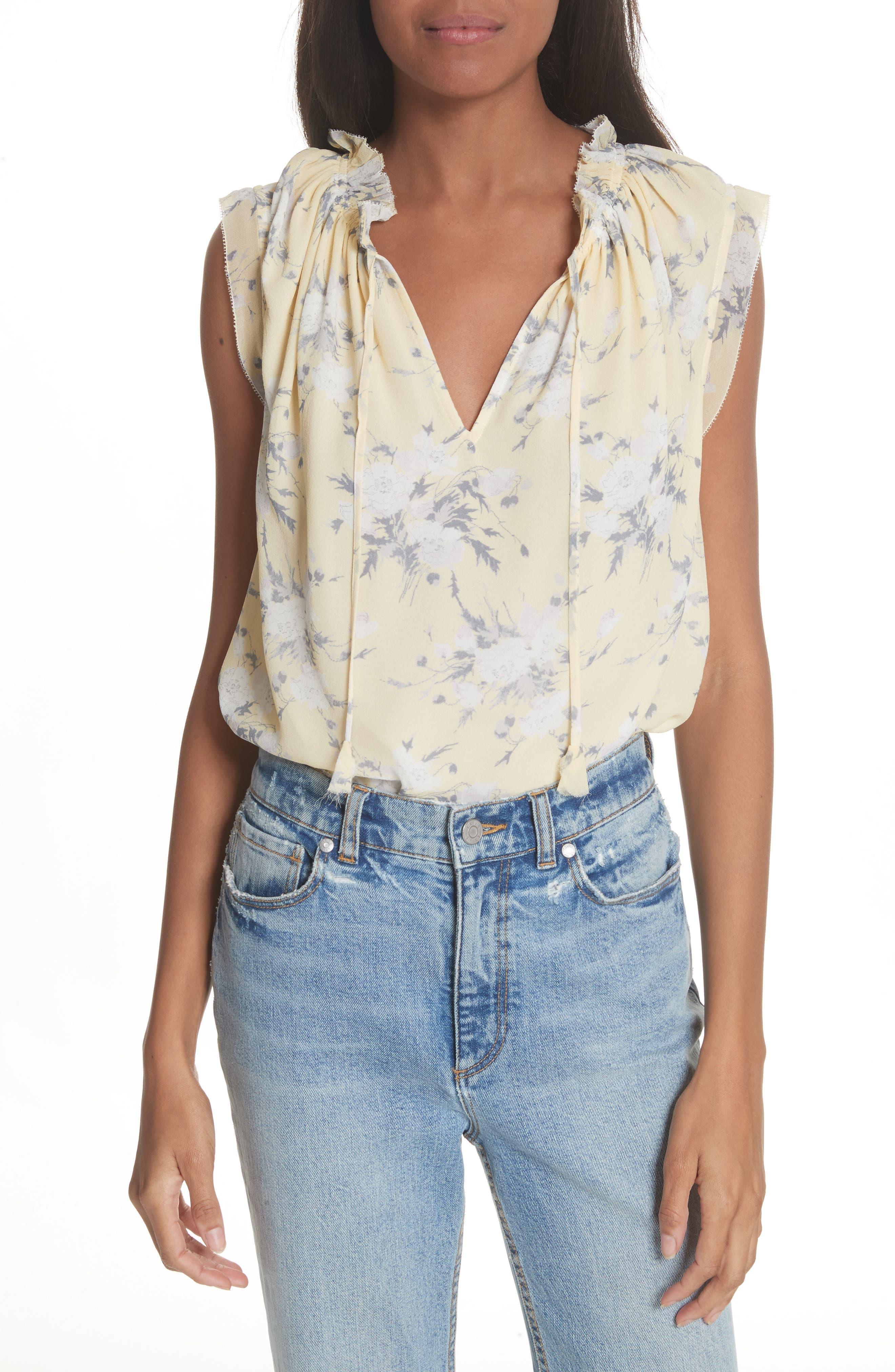 Lemon Rose Silk Top,                         Main,                         color, 722