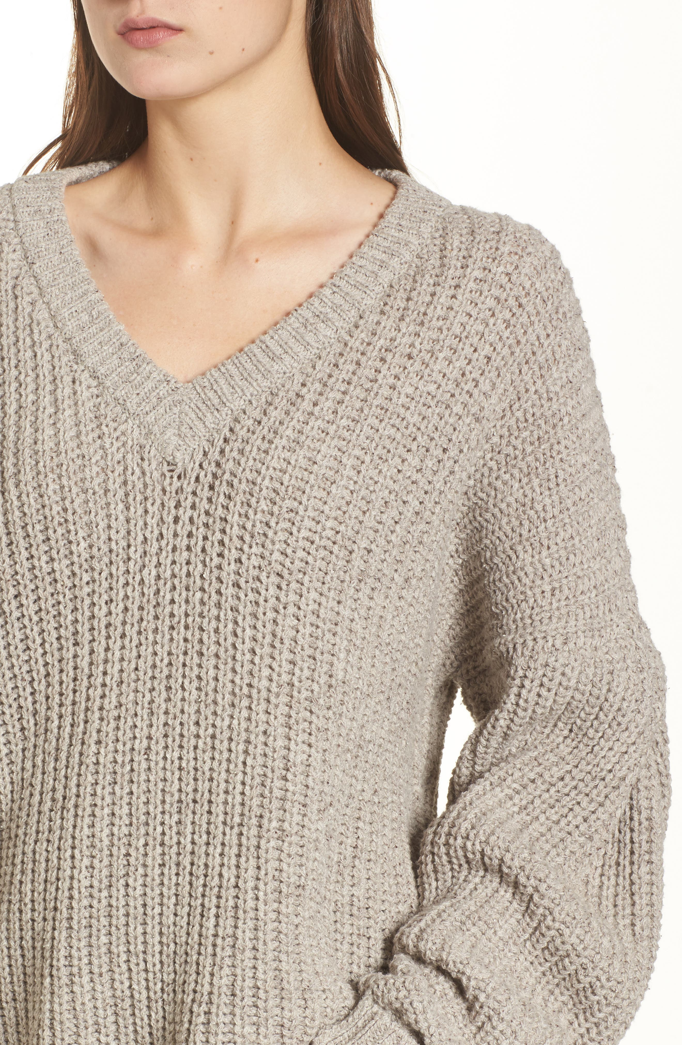 Pleat Sleeve Pullover Sweater,                             Alternate thumbnail 7, color,