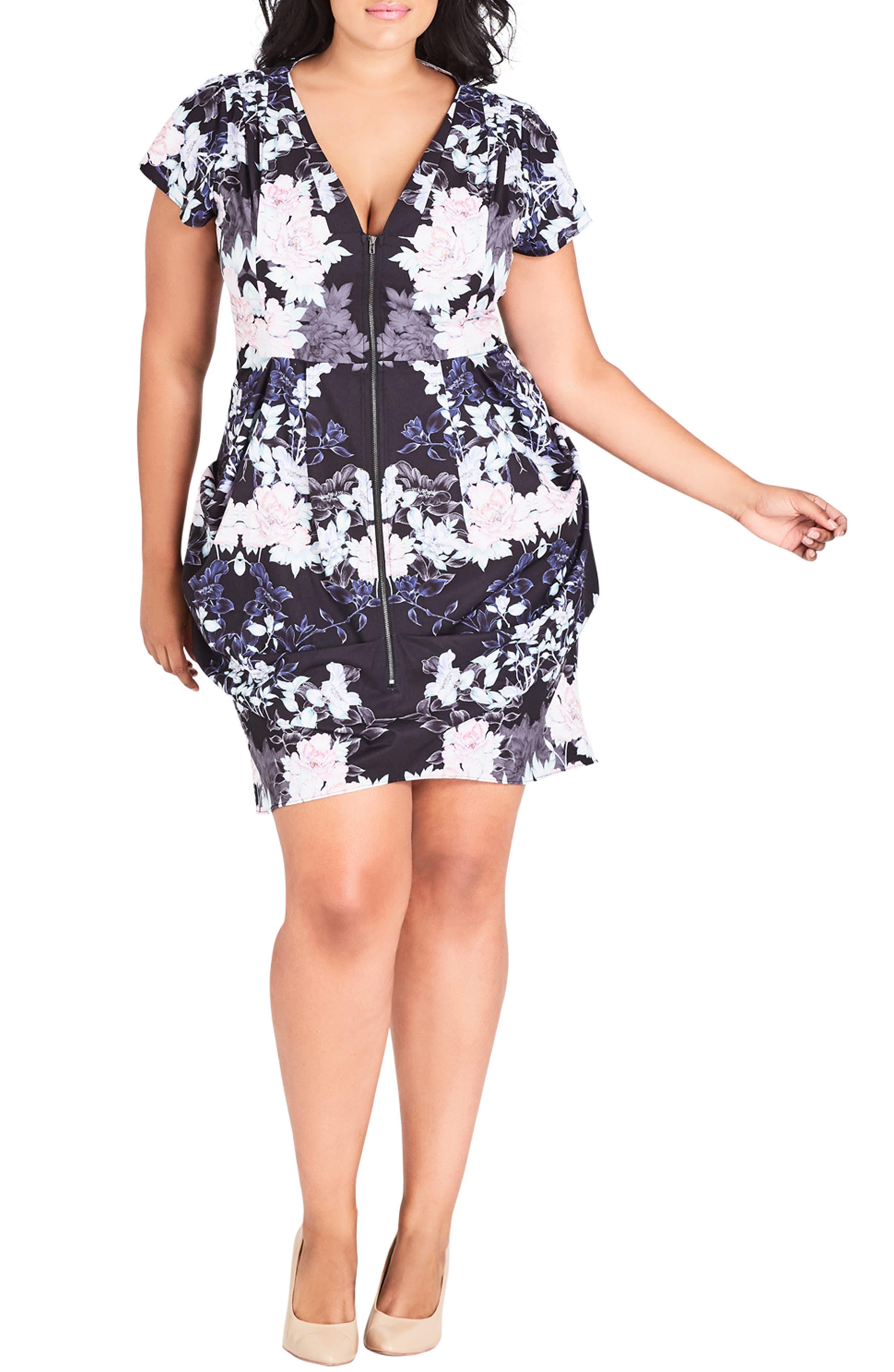 Plus Size City Chic Blossom Print Tunic Dress, Black