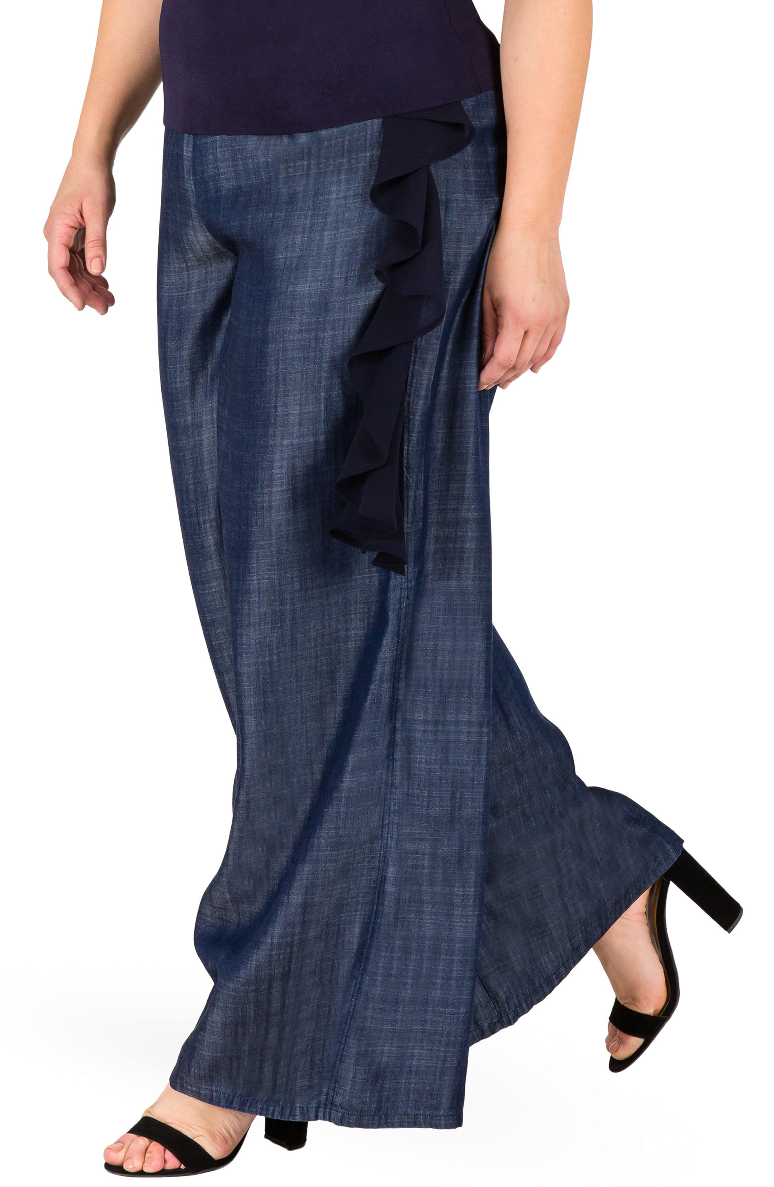Olga Wide Leg Denim Pants,                             Alternate thumbnail 3, color,                             INDIGO