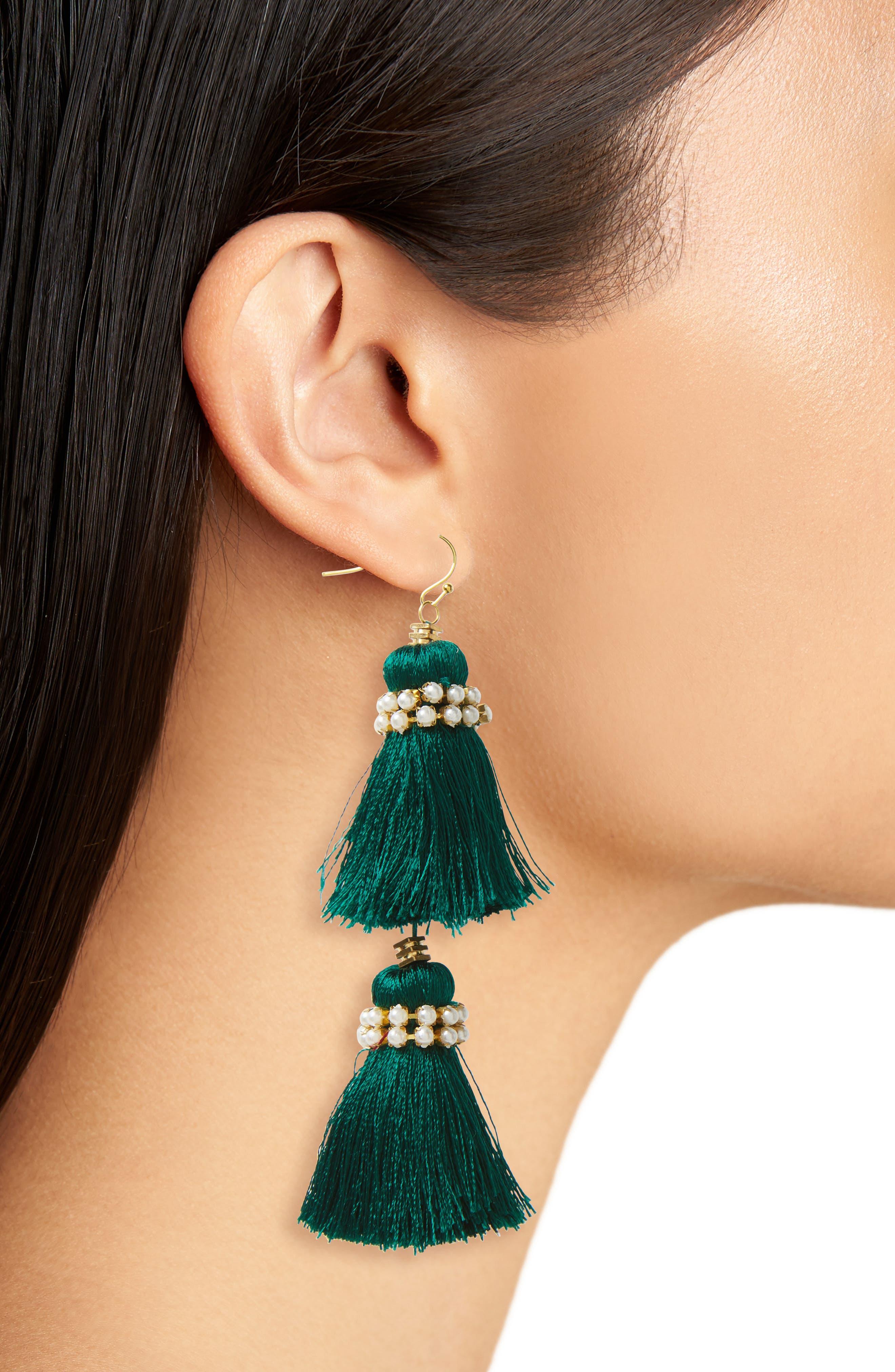Imitation Pearl & Tassel Earrings,                             Alternate thumbnail 2, color,                             300