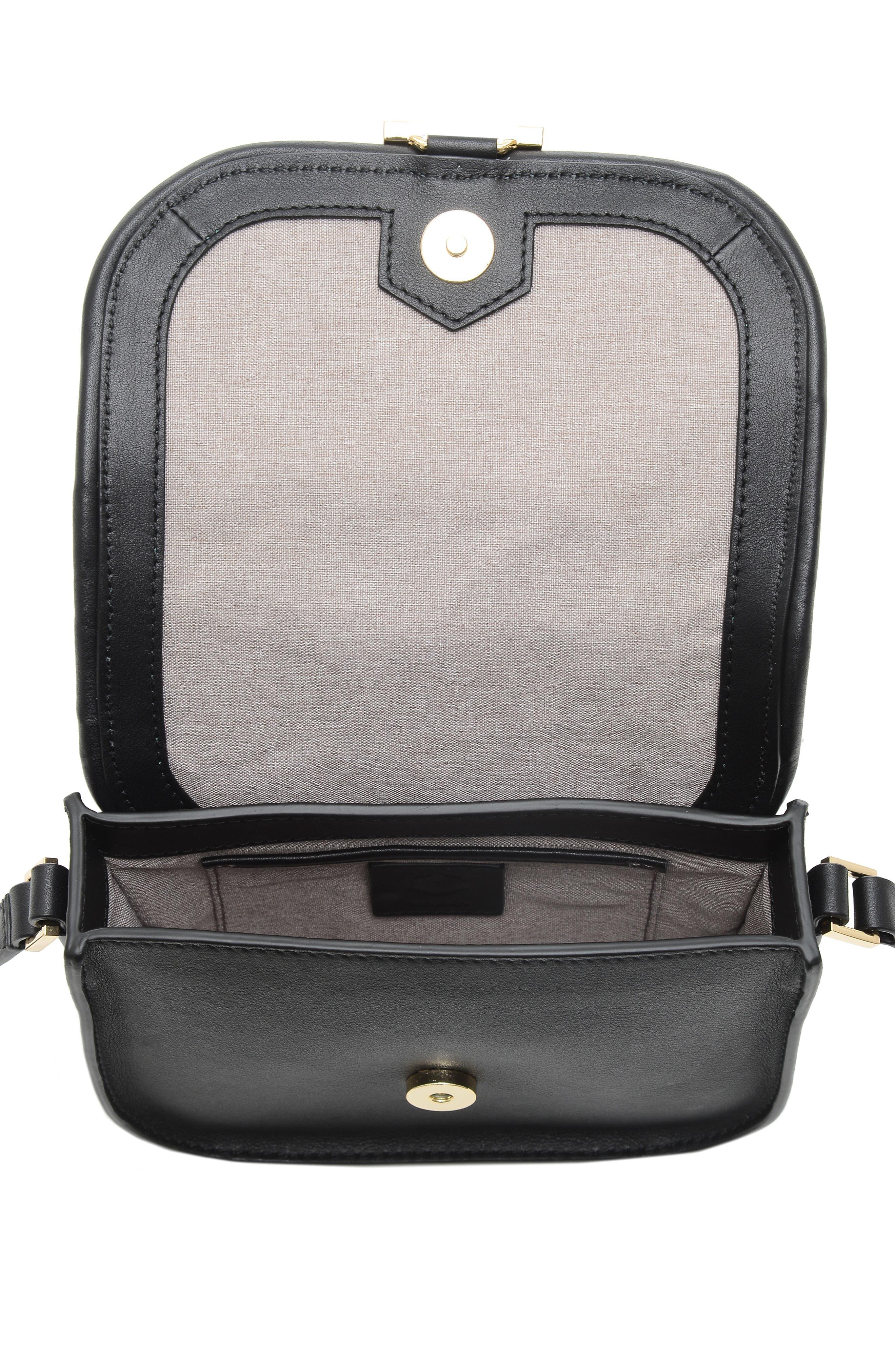 Mini Summit Leather Crossbody Bag,                             Alternate thumbnail 3, color,                             BLACK