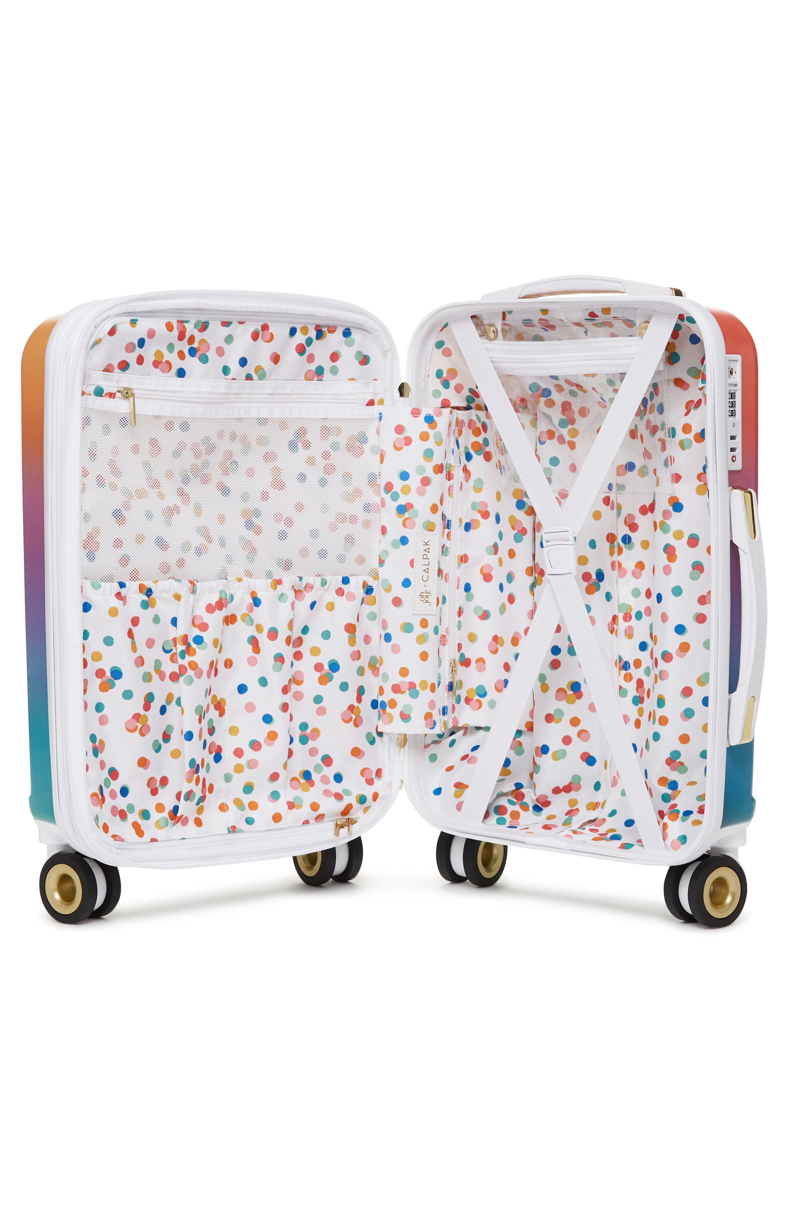 x Oh Joy! 20-Inch Hardshell Spinner Carry-On Suitcase,                             Alternate thumbnail 4, color,