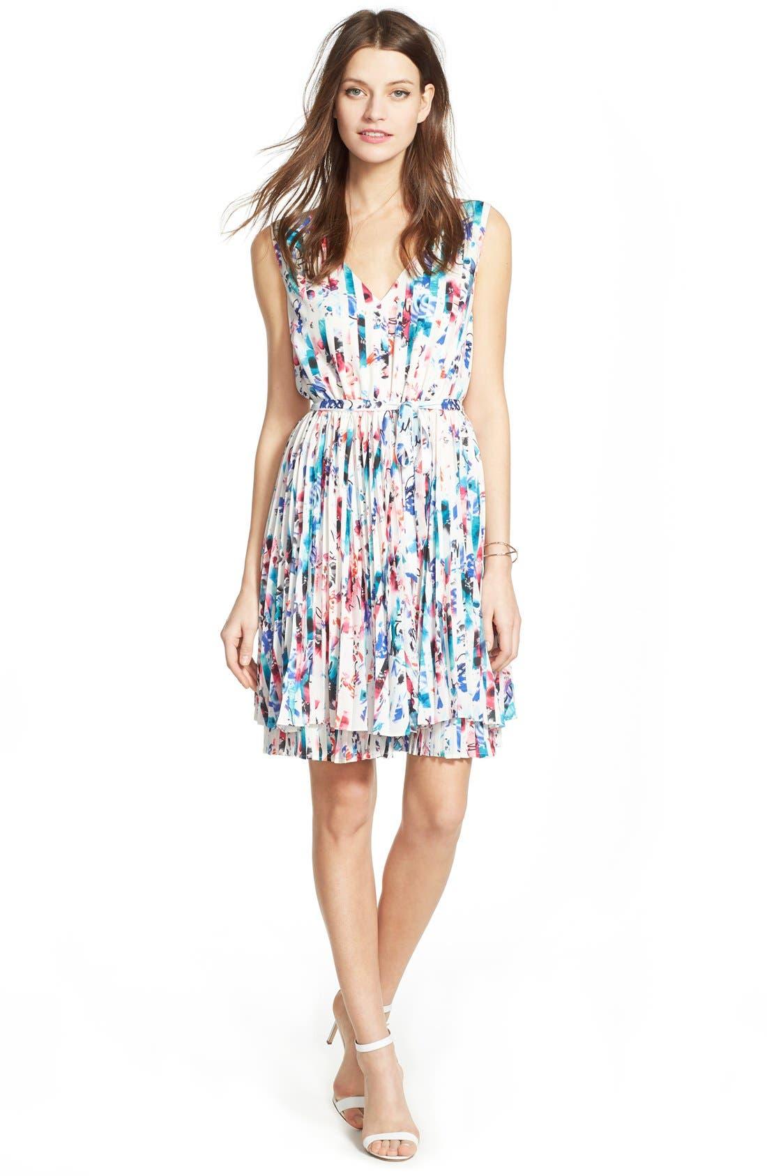 Print Woven Fit & Flare Dress,                             Alternate thumbnail 4, color,                             610