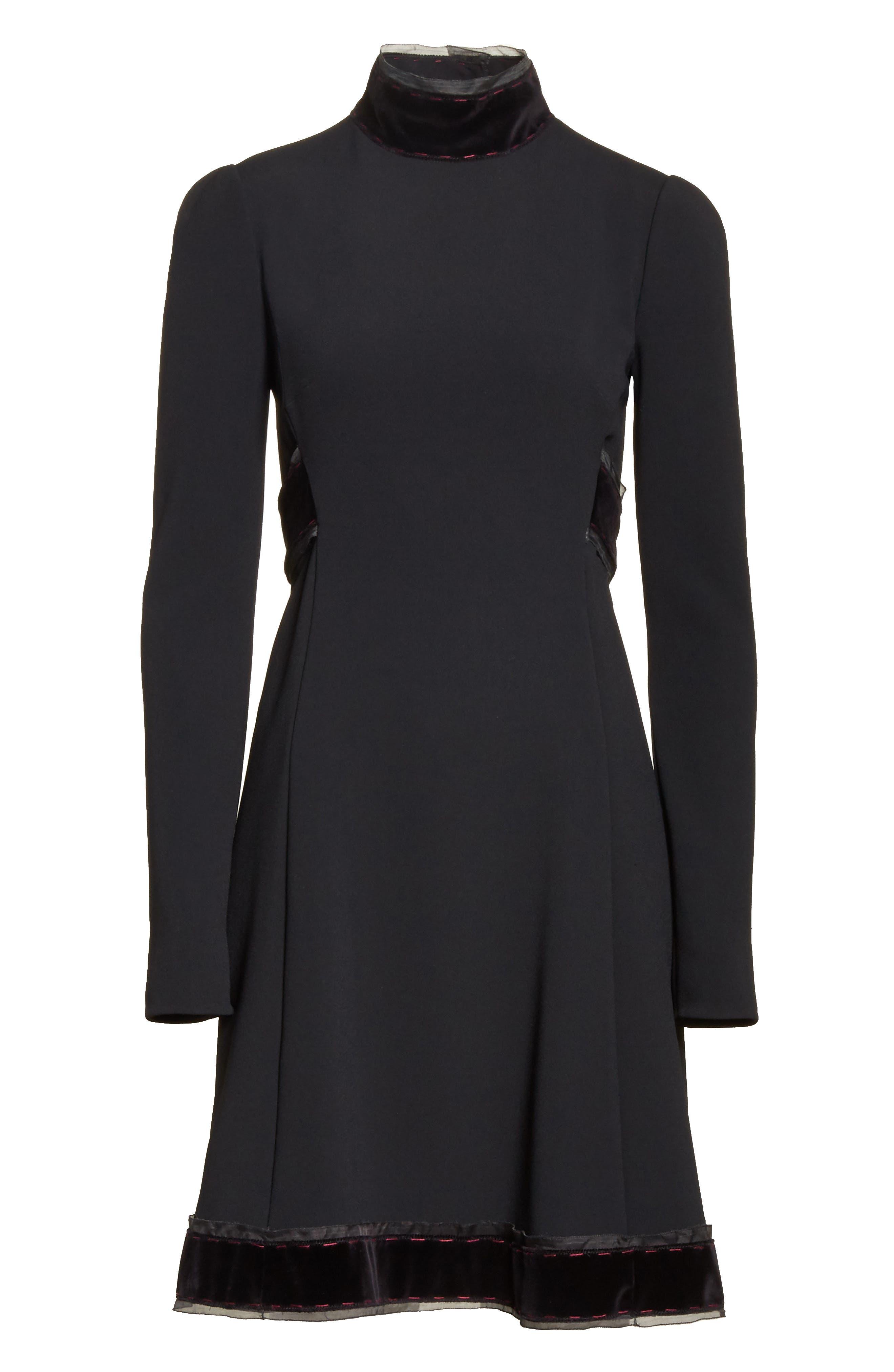 Velvet Trim Cady Turtleneck Dress,                             Alternate thumbnail 6, color,                             001