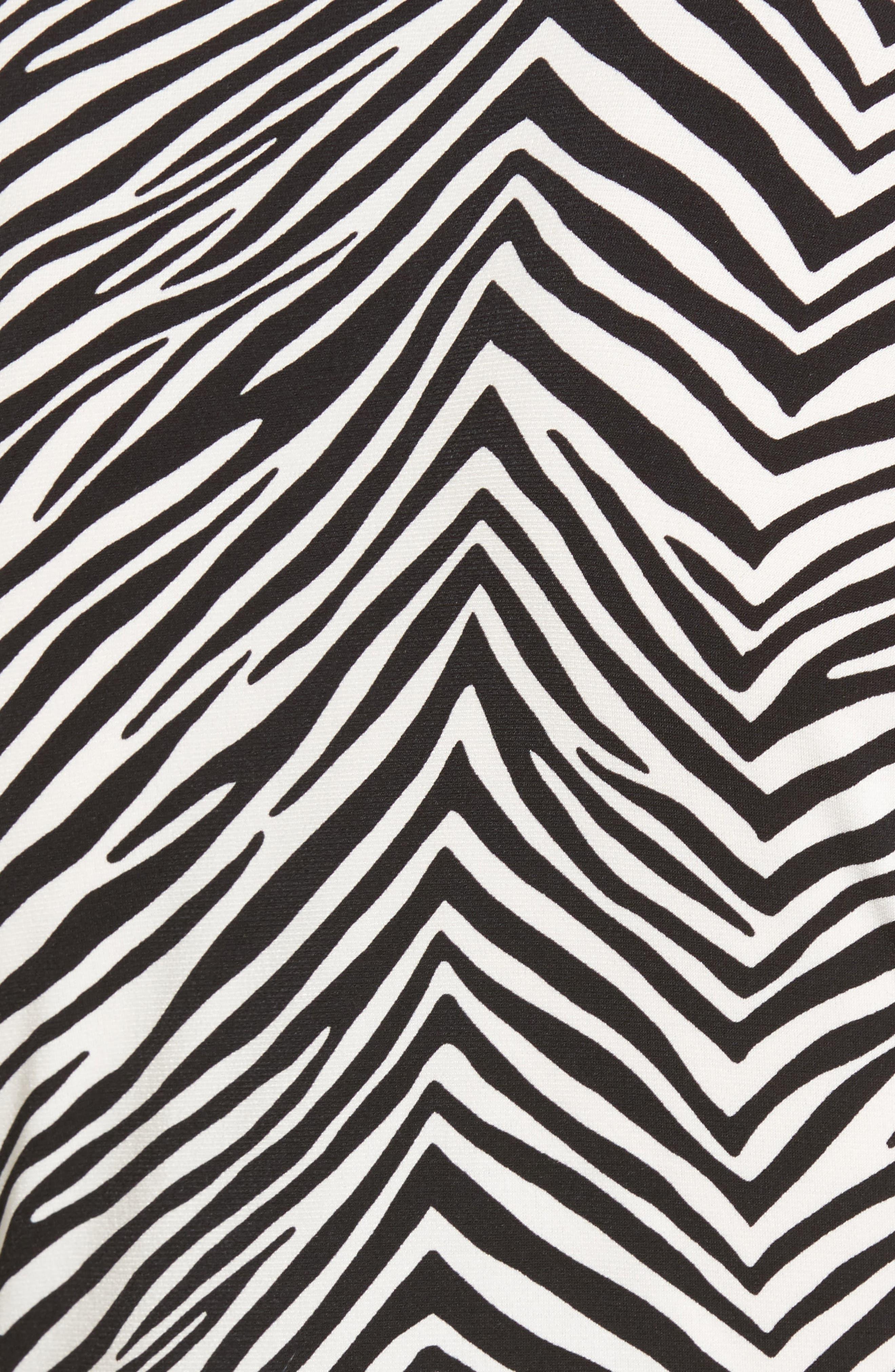 Zebra Print Ruched Top,                             Alternate thumbnail 5, color,                             010