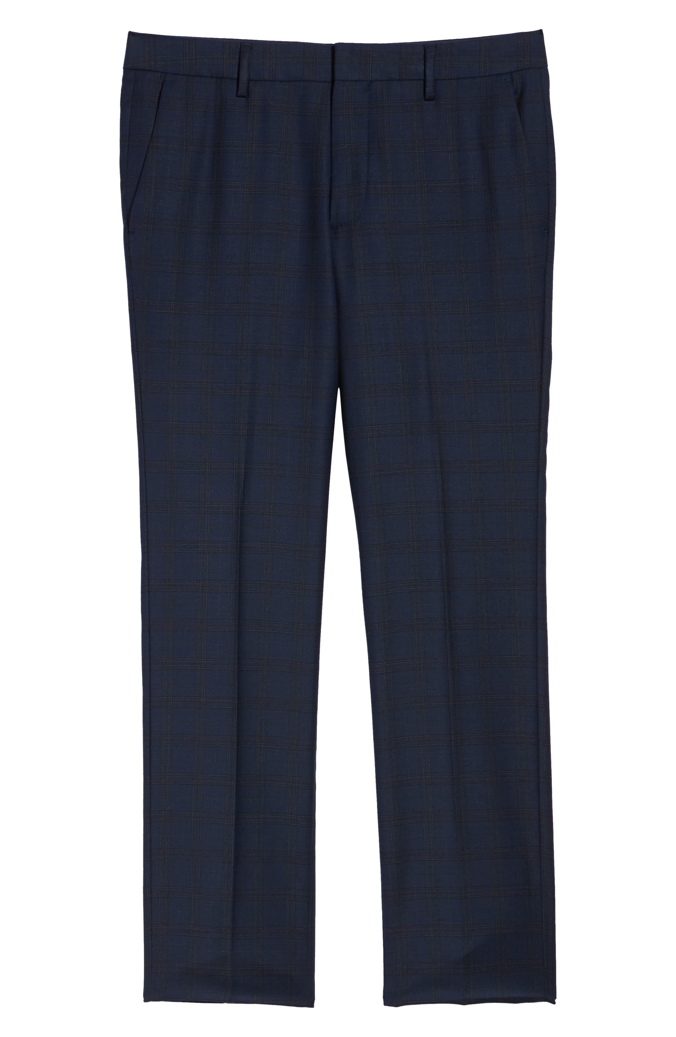 Jetsetter Slim Fit Stretch Suit Pants,                             Alternate thumbnail 6, color,                             SUBTLE NAVY PLAID