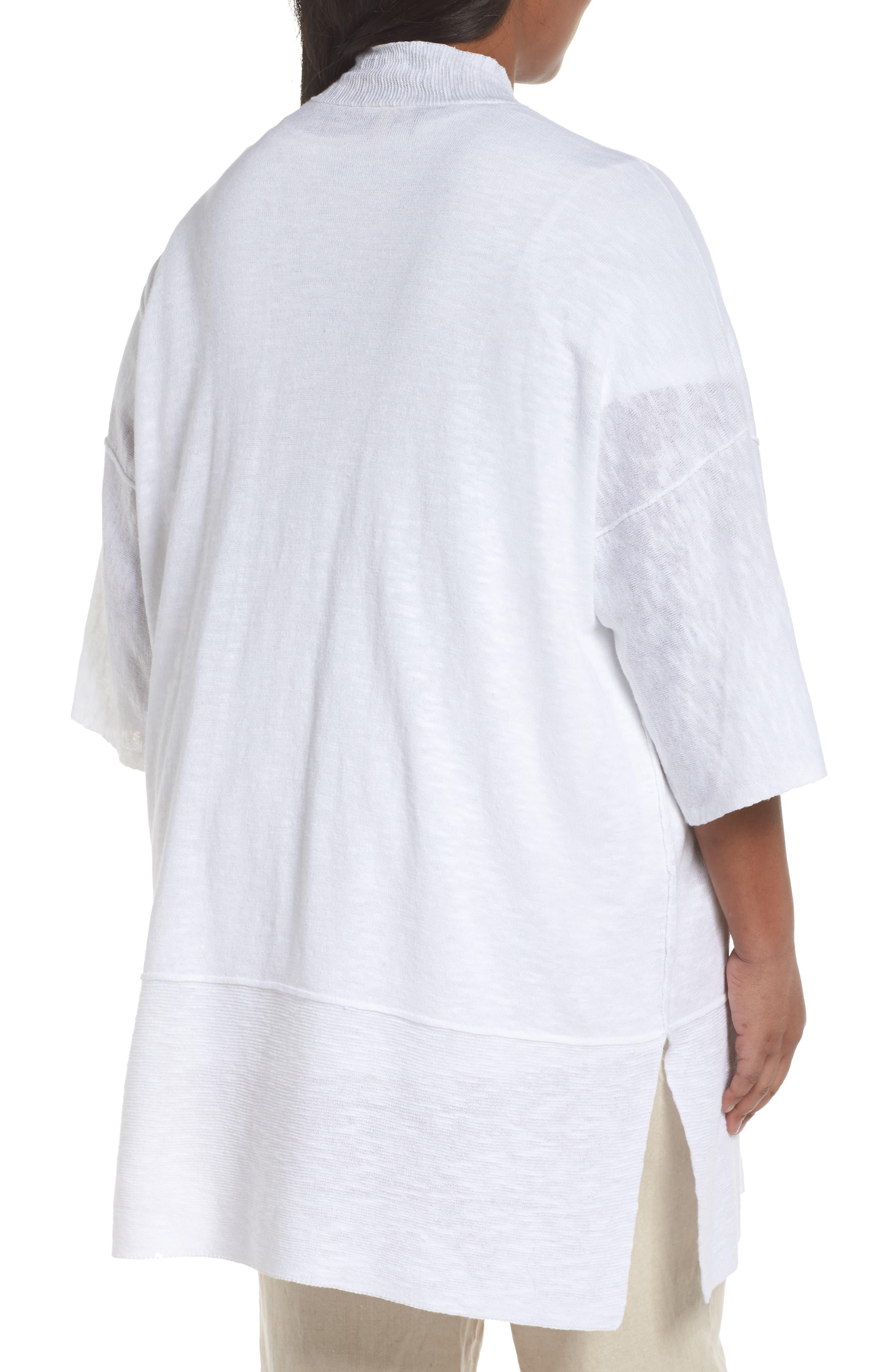 Organic Linen & Cotton Kimono Cardigan,                             Alternate thumbnail 3, color,