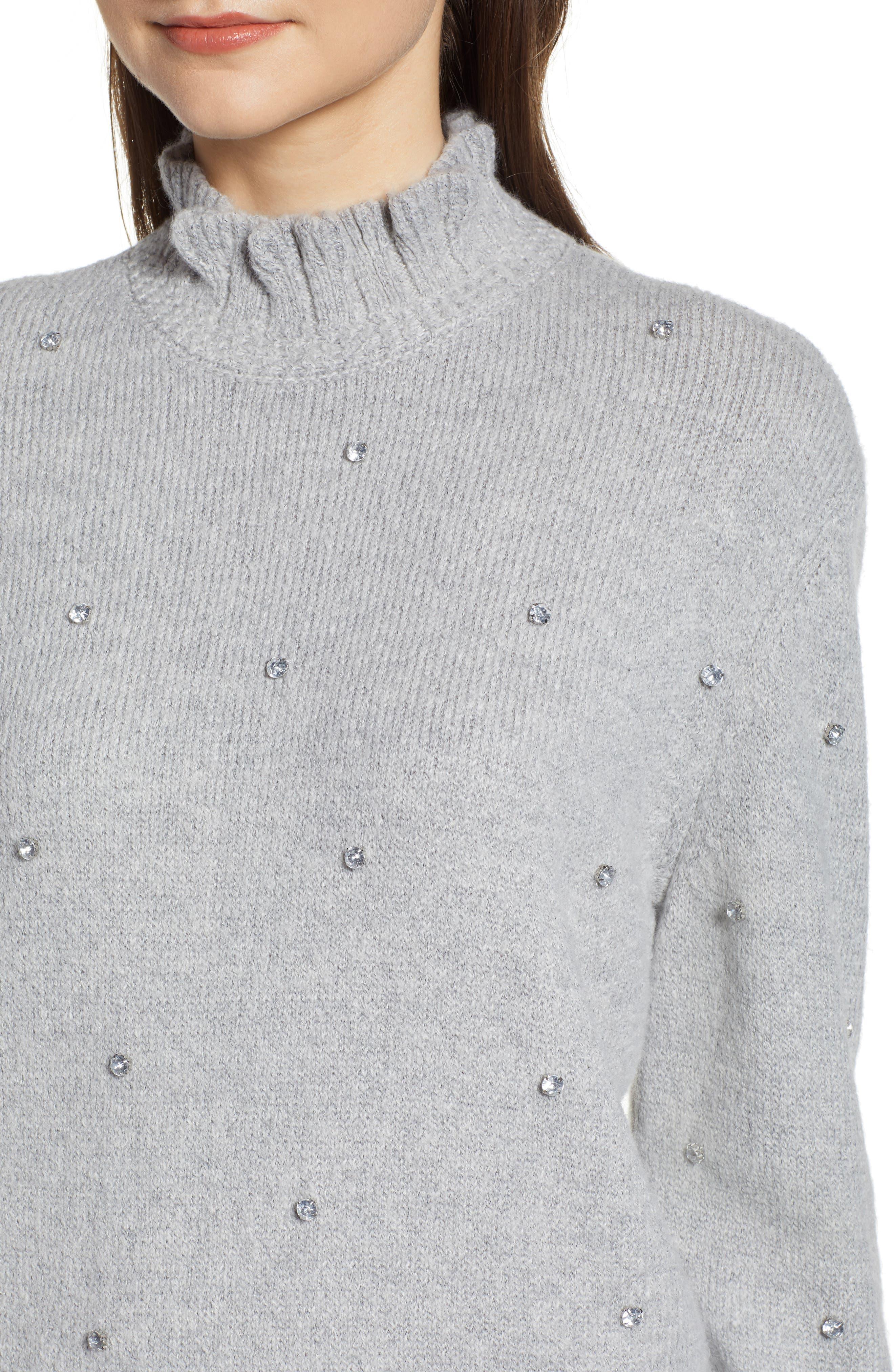 Embellished Ruffle Neck Sweater,                             Alternate thumbnail 4, color,                             GREY LIGHT HEATHER