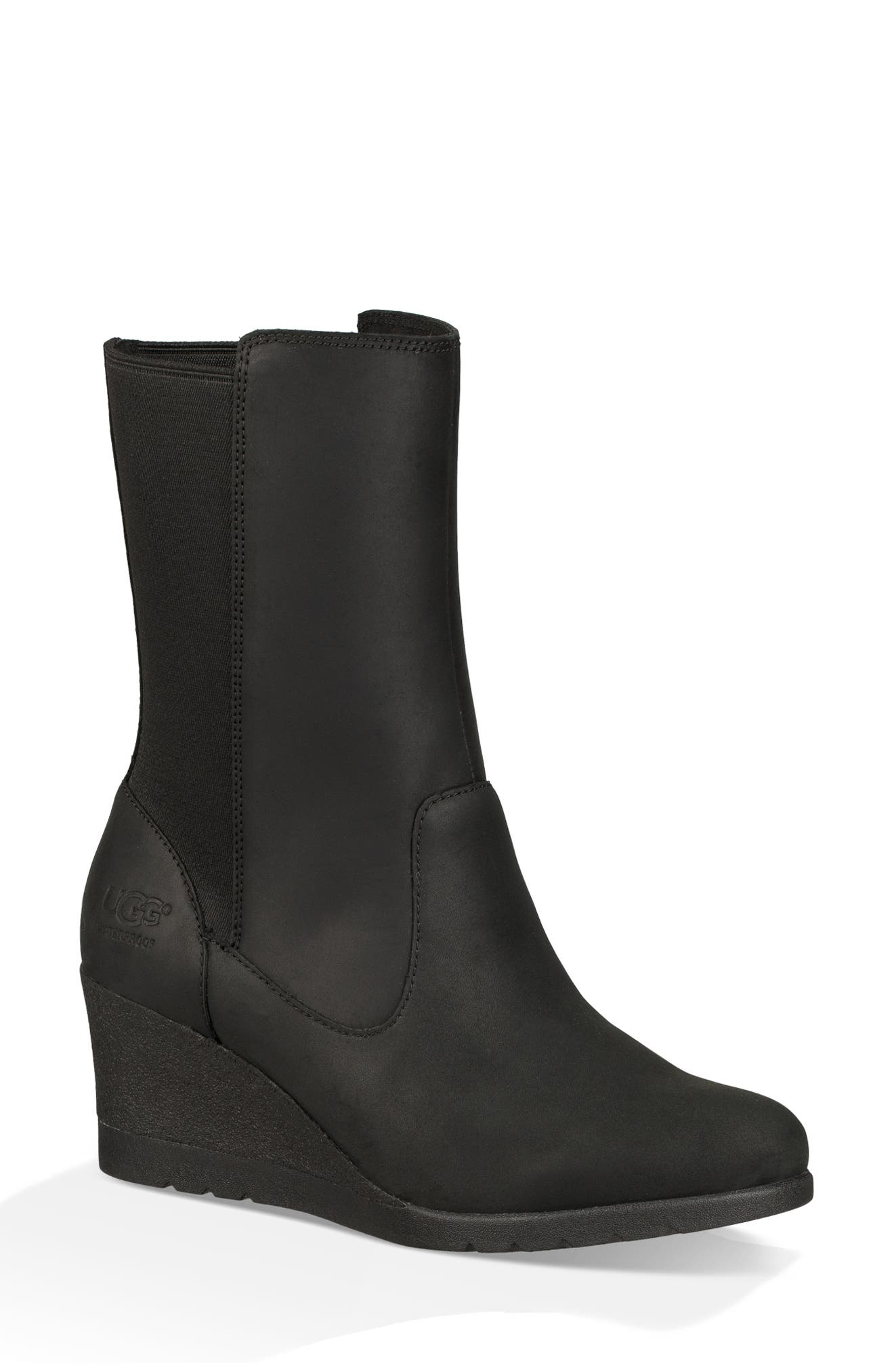 Coraline Waterproof Bootie,                             Main thumbnail 1, color,                             BLACK LEATHER