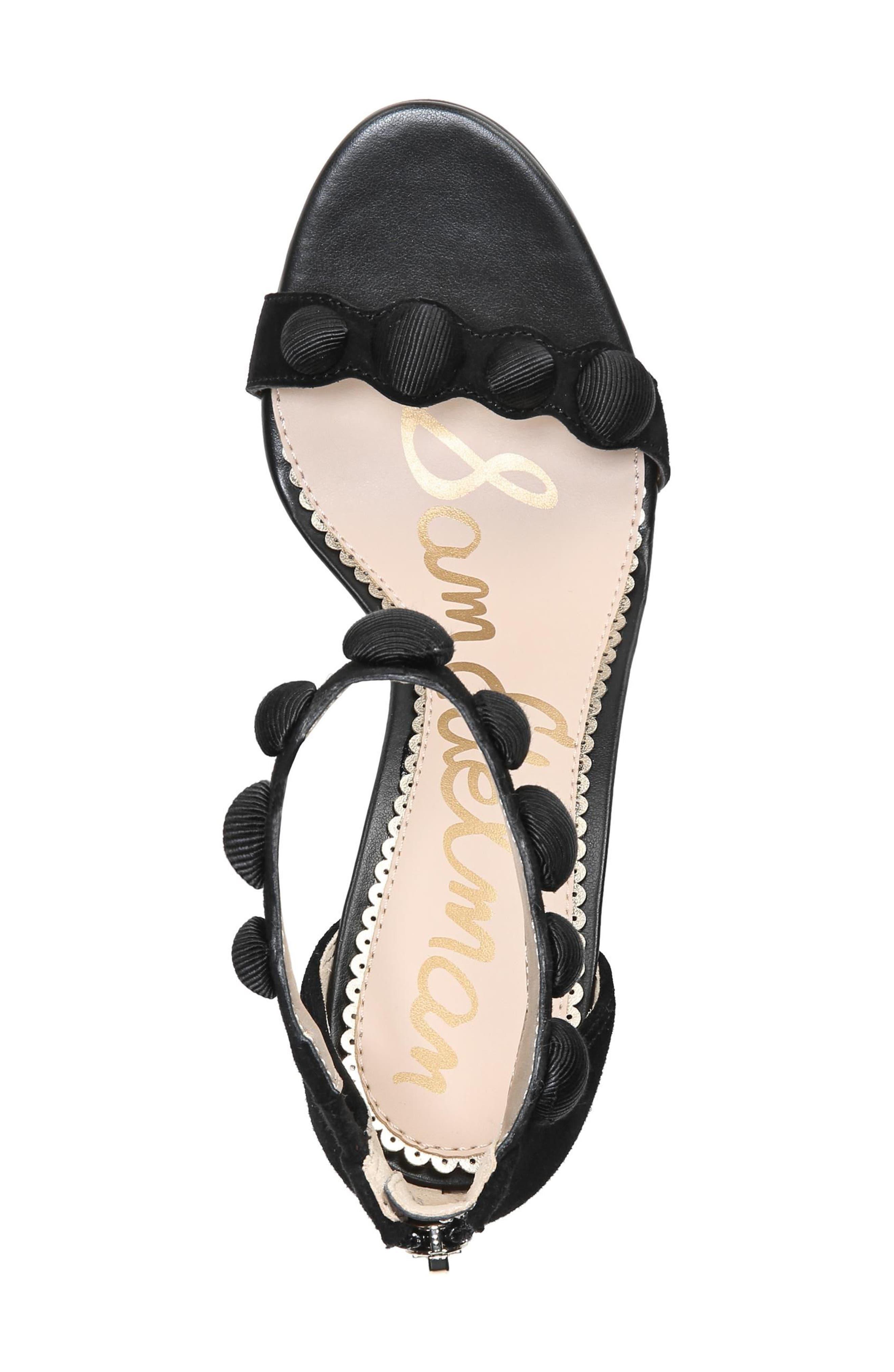 Sam Edelmen Addison Embellished Ankle Strap Sandal,                             Alternate thumbnail 5, color,                             001
