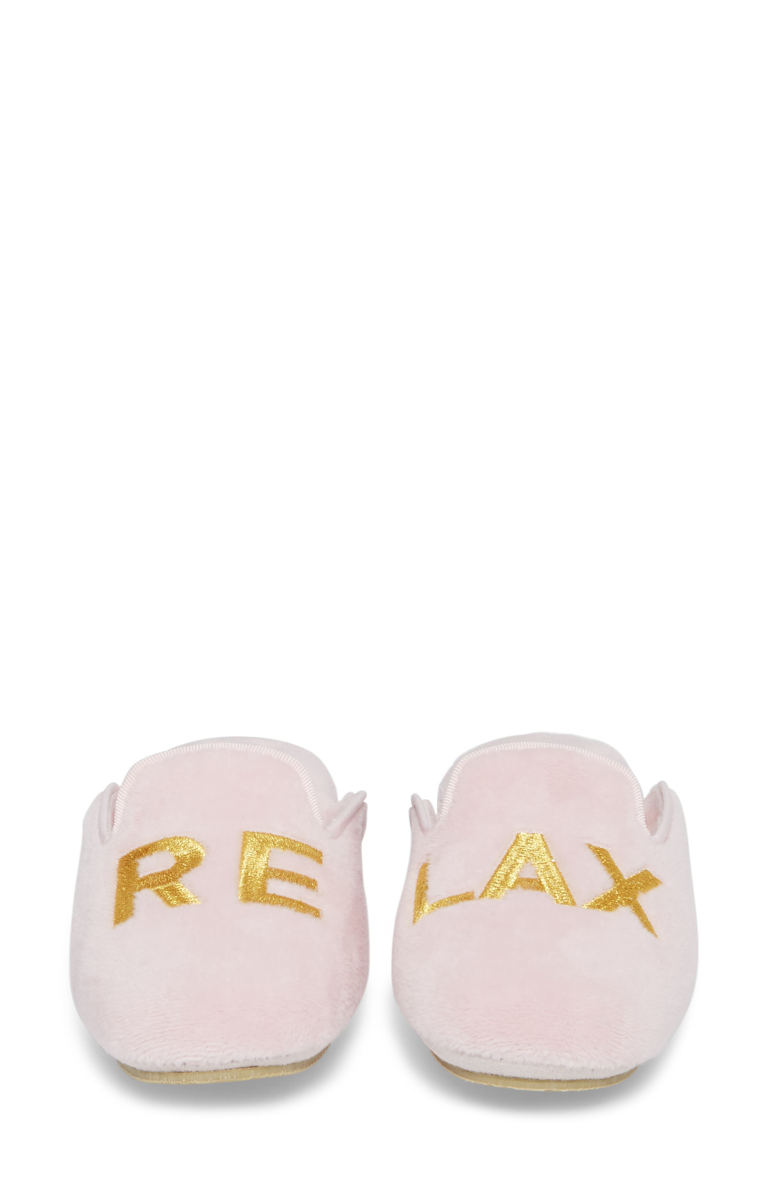 Relax Embroidered Mule Slipper,                             Alternate thumbnail 5, color,                             PINK FABRIC
