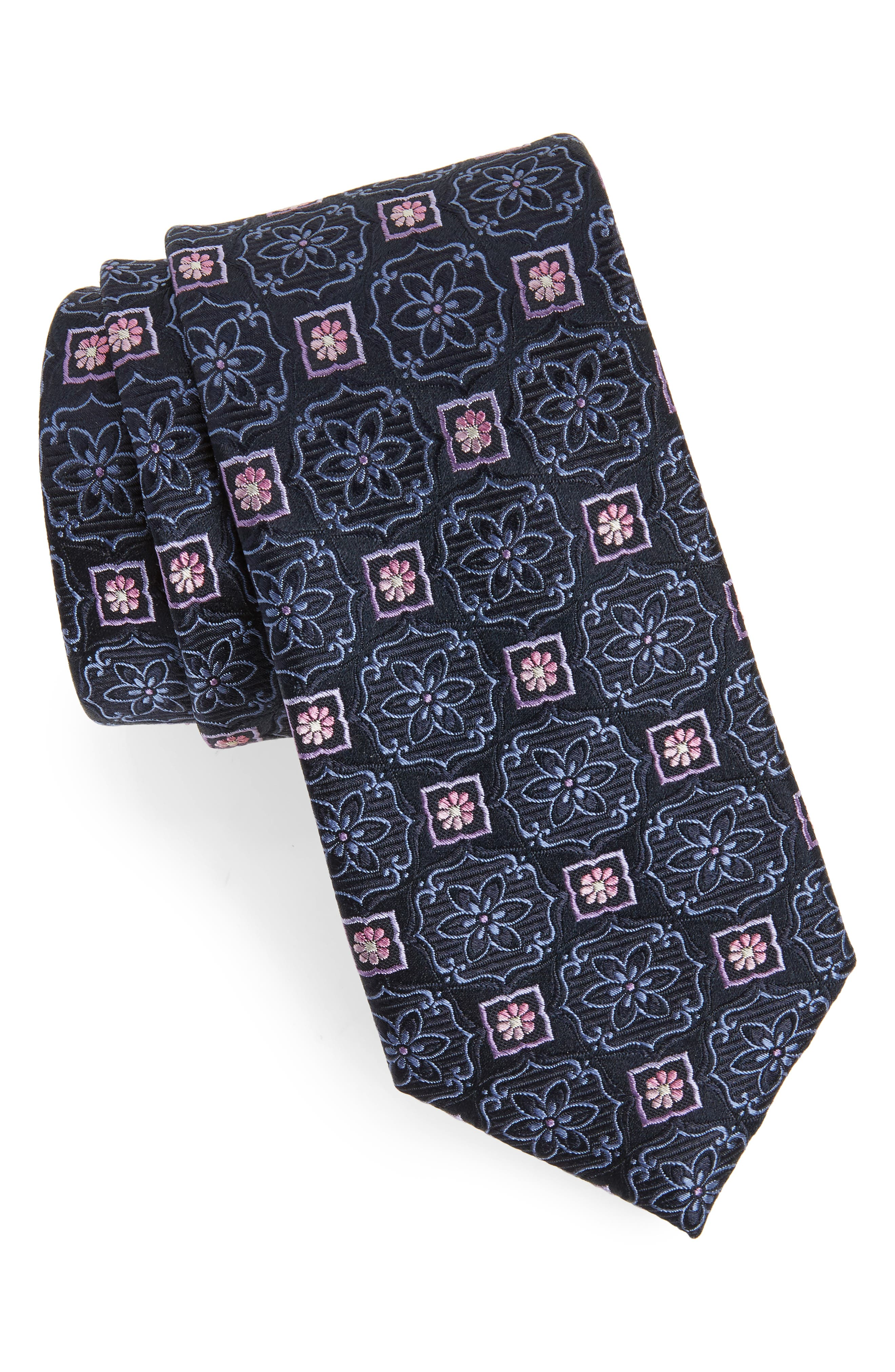 Floral Medallion Silk Tie,                         Main,                         color, 411