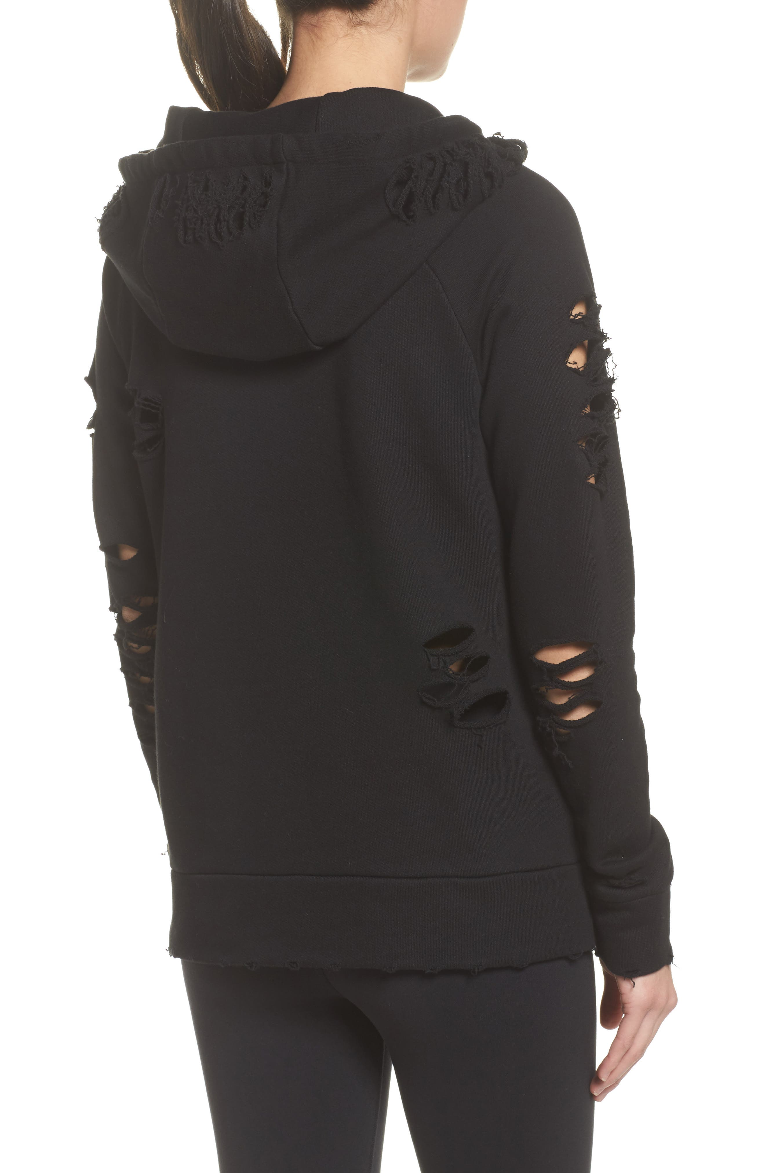 Ripped Hoodie,                             Alternate thumbnail 2, color,                             BLACK/ DISTRESSED HOLES