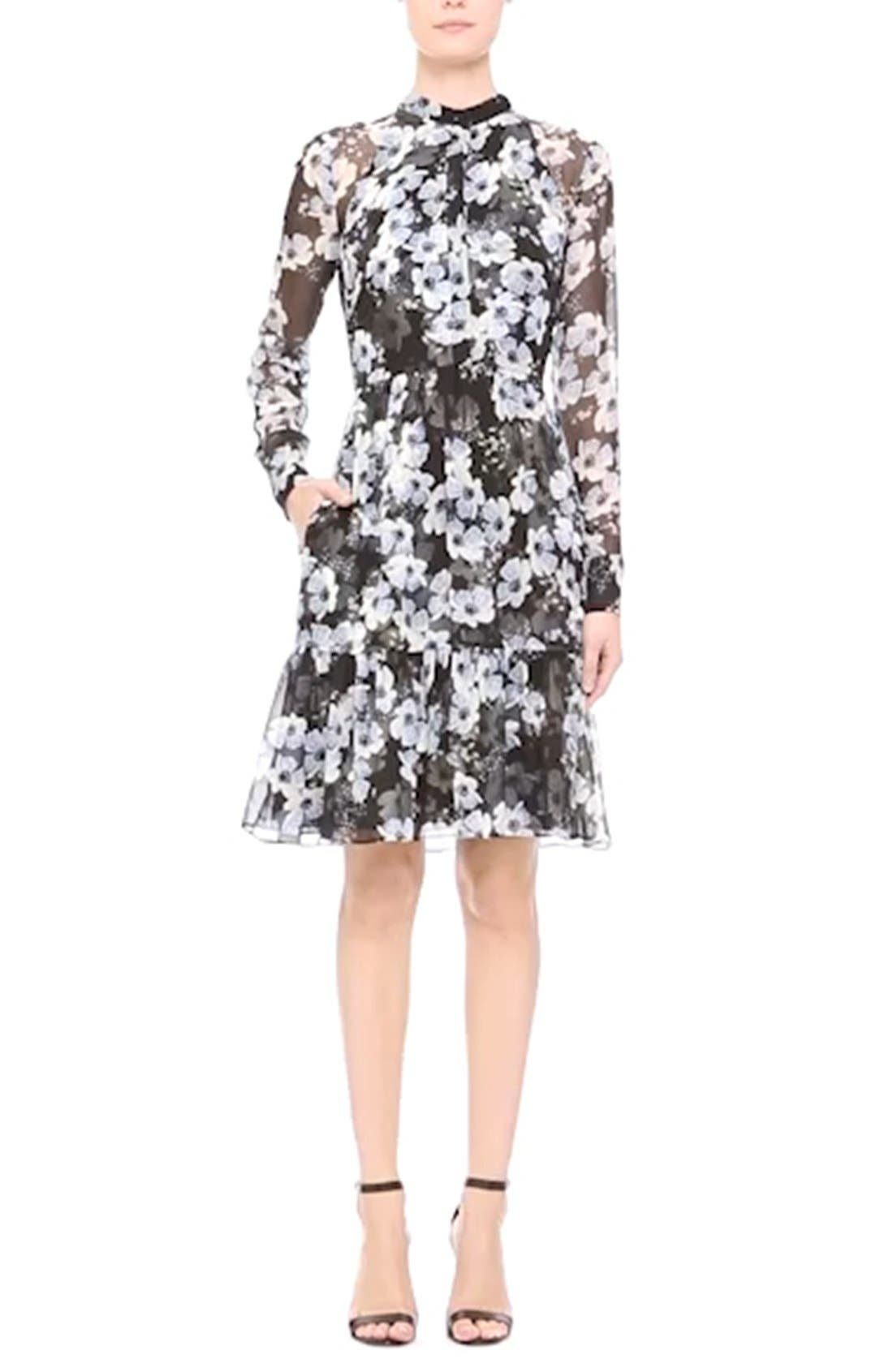 'Devika' Floral Print Silk Voile Dress,                             Alternate thumbnail 3, color,                             003