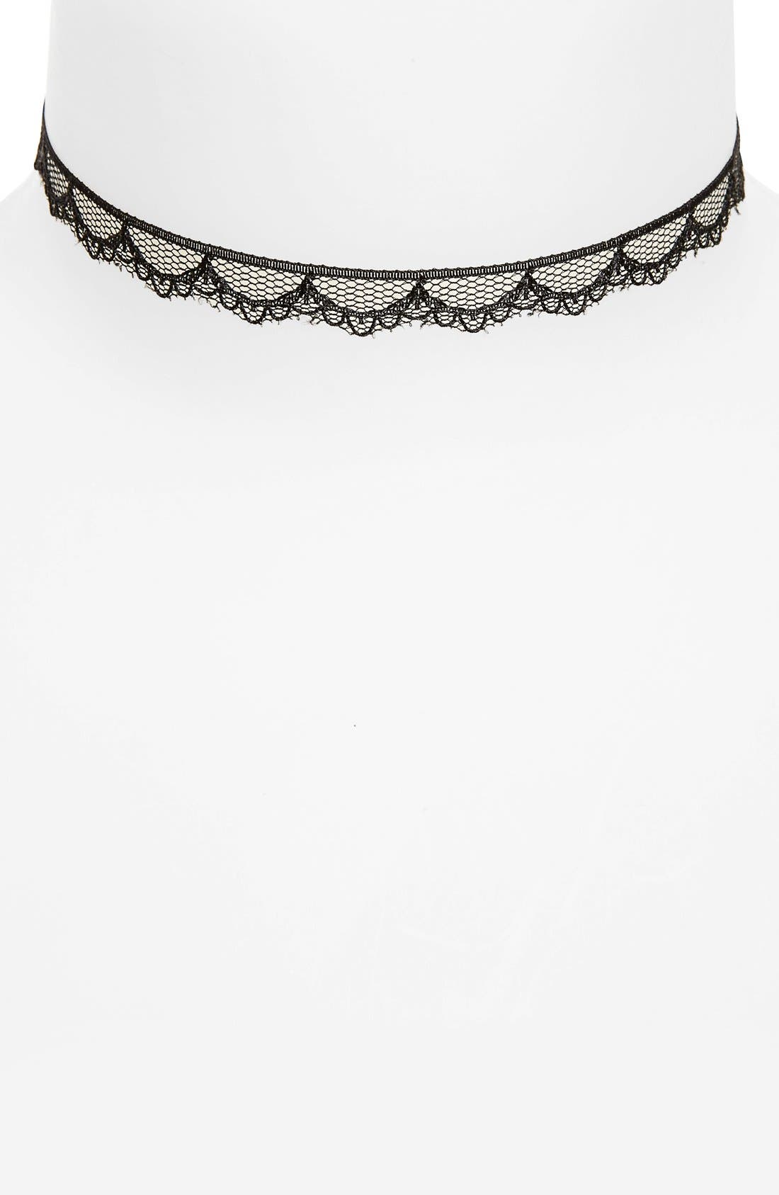 Scalloped Lace Choker,                         Main,                         color, 001