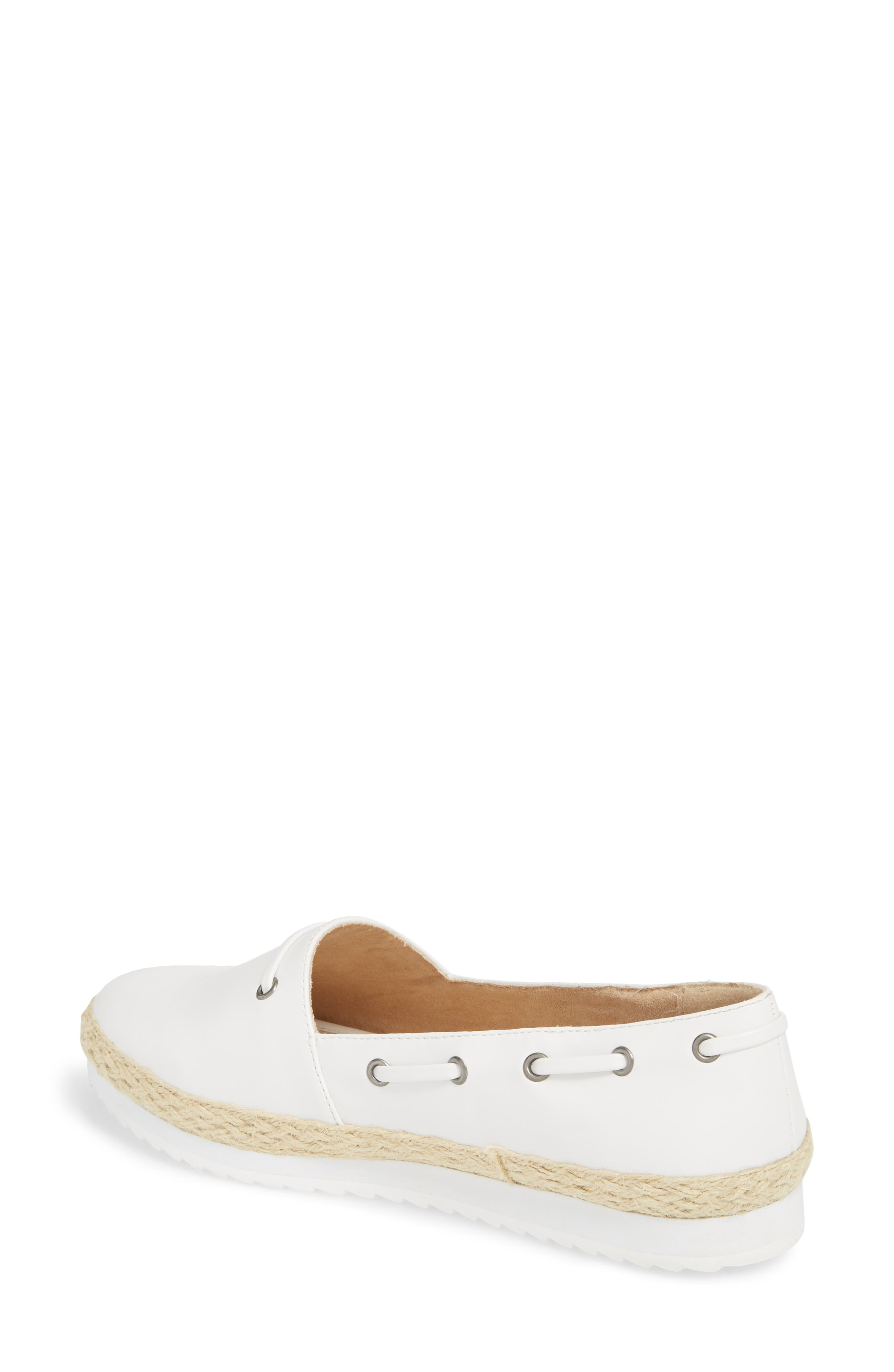 Highlighter Espadrille,                             Alternate thumbnail 2, color,                             WHITE FAUX LEATHER
