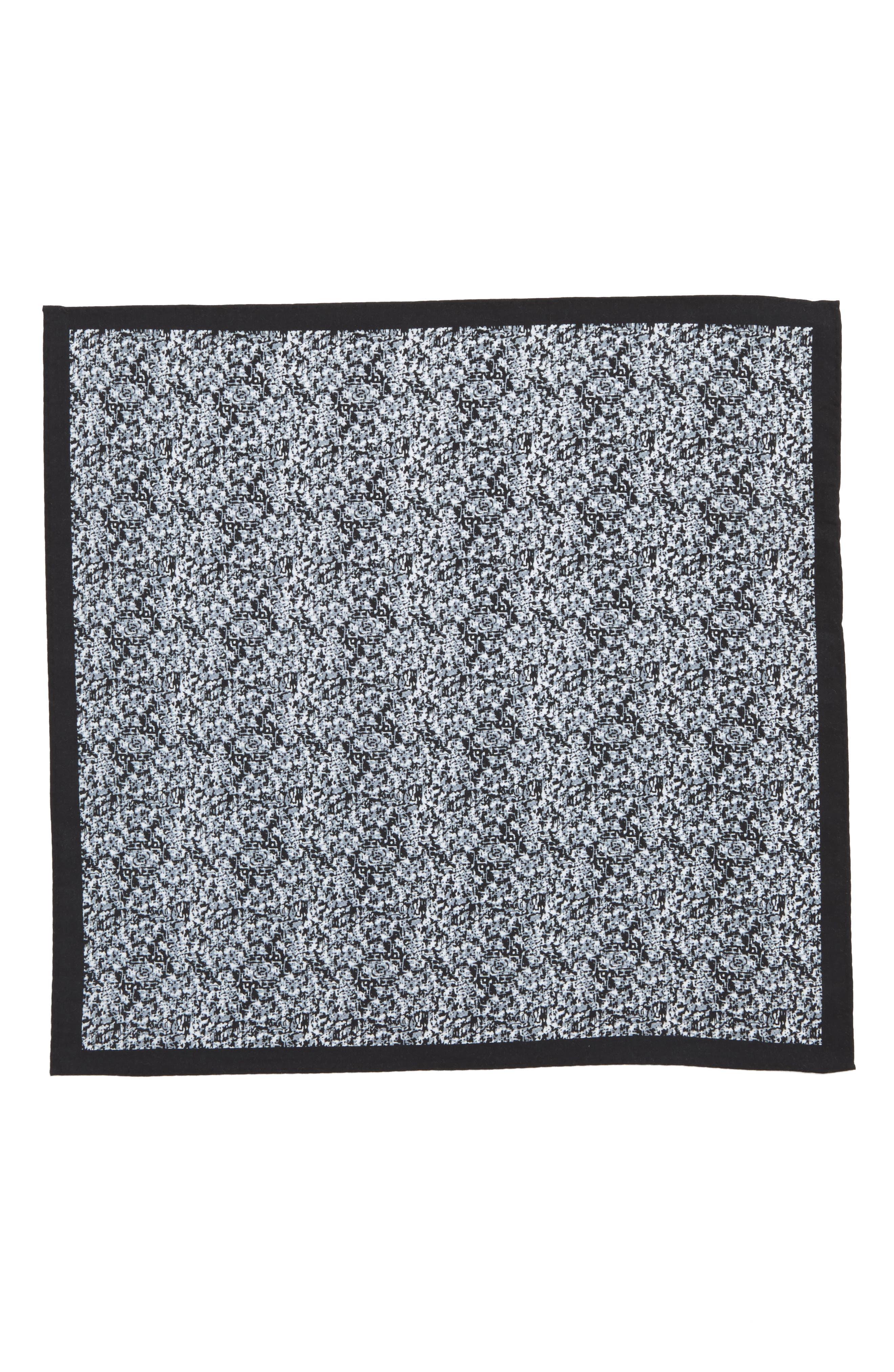 Panso Print Cotton Pocket Square,                             Alternate thumbnail 2, color,                             001