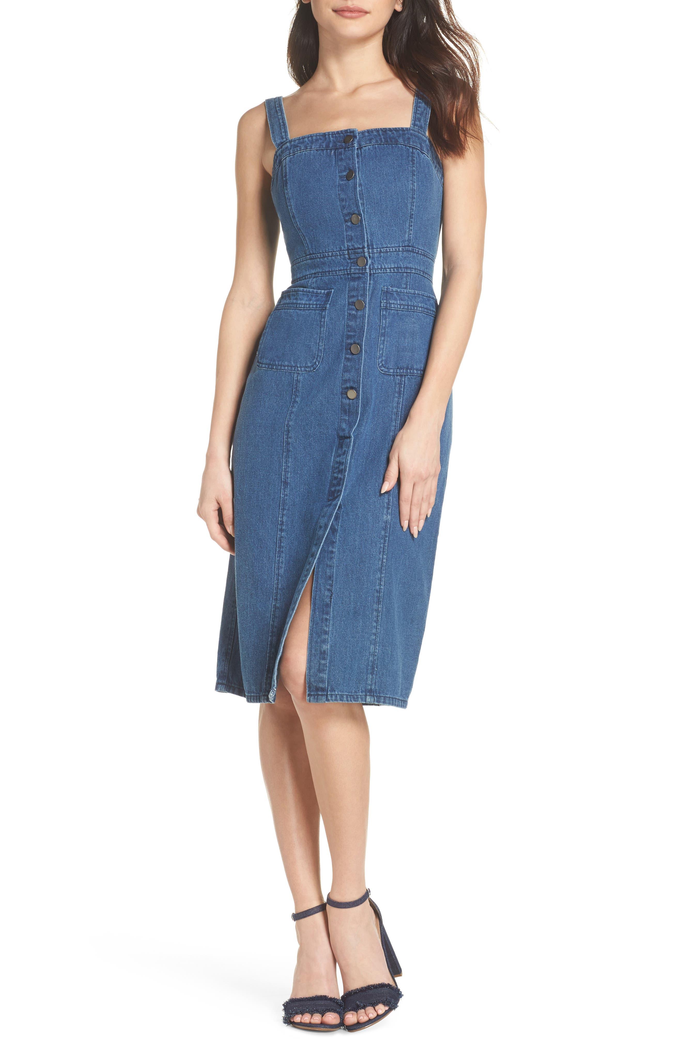 Button Front Denim Dress, Main, color, 401