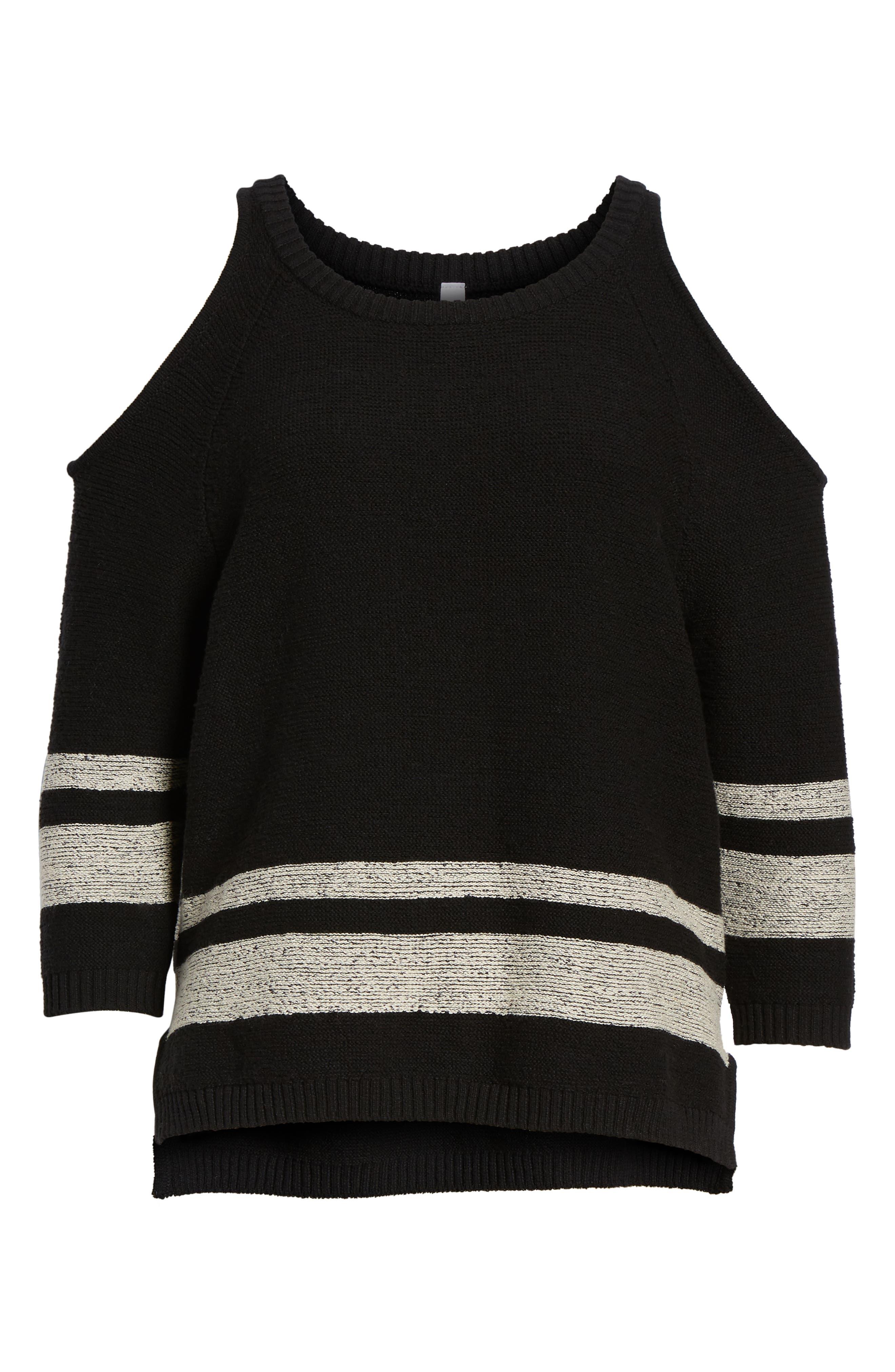 Marked Cold Shoulder Sweater,                             Alternate thumbnail 6, color,                             BLACK